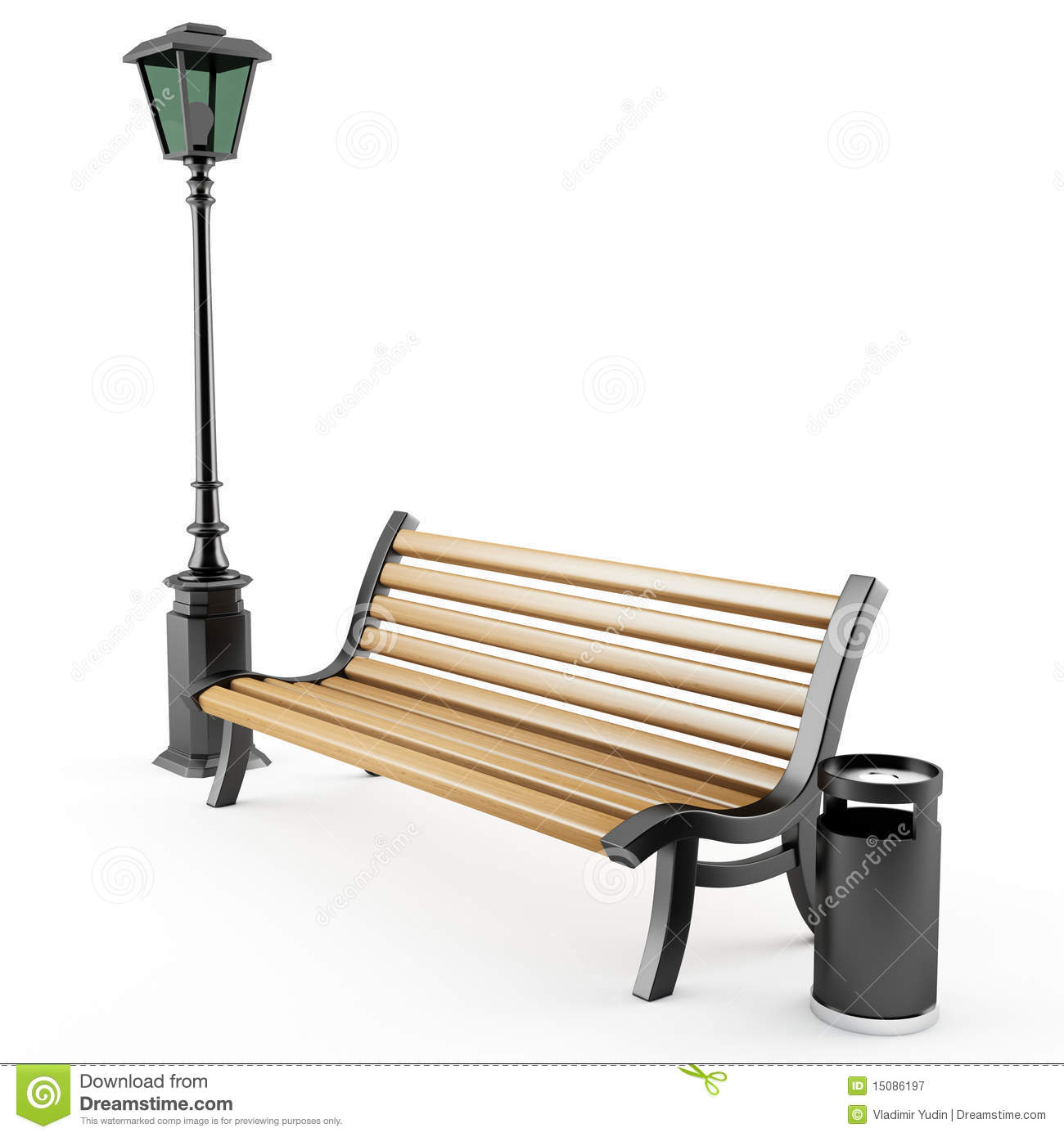 Bench And Street Lamp Stock Illustration Image Of Weekend