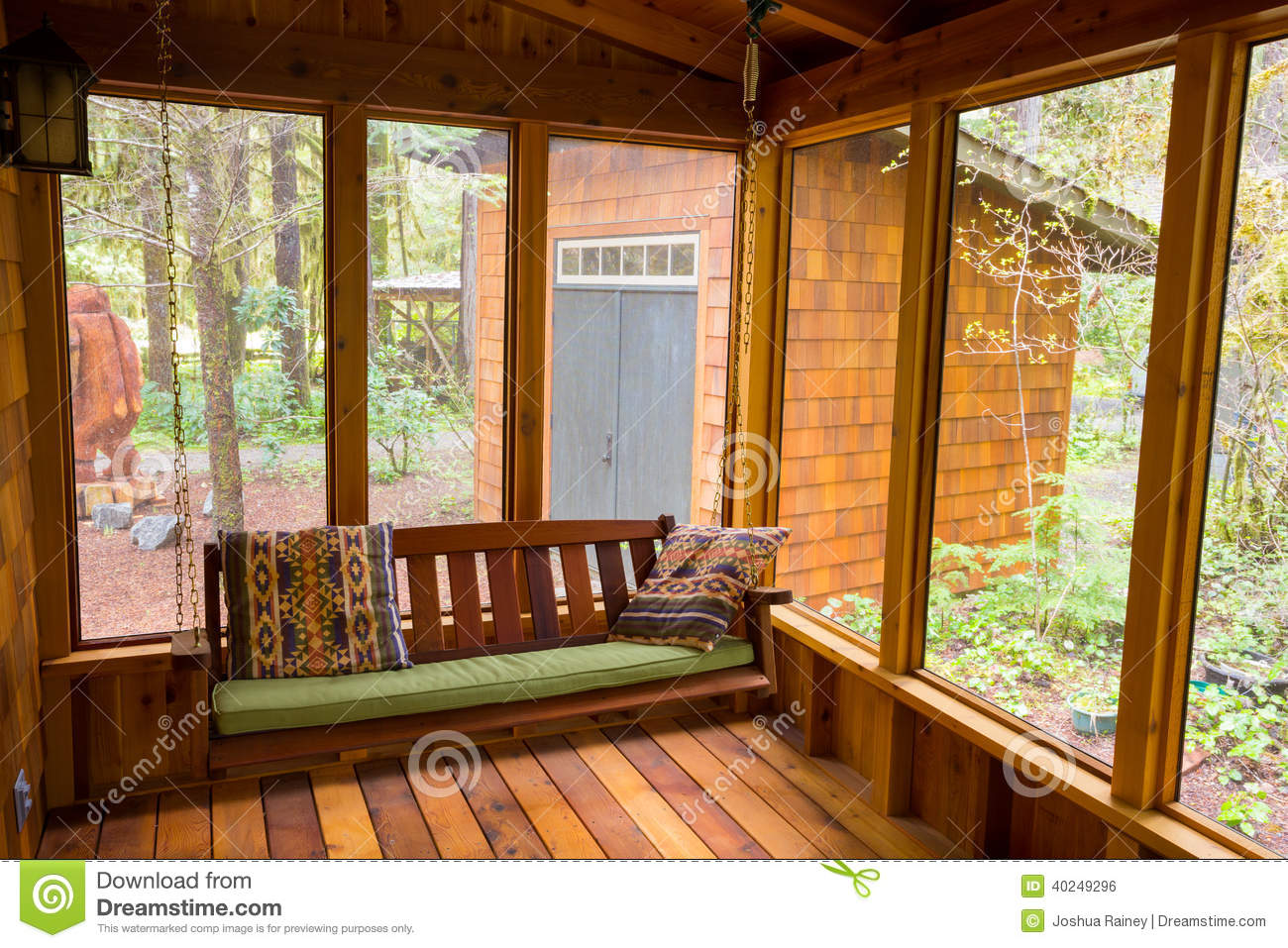 bench swing in screened porch stock photo image 40249296