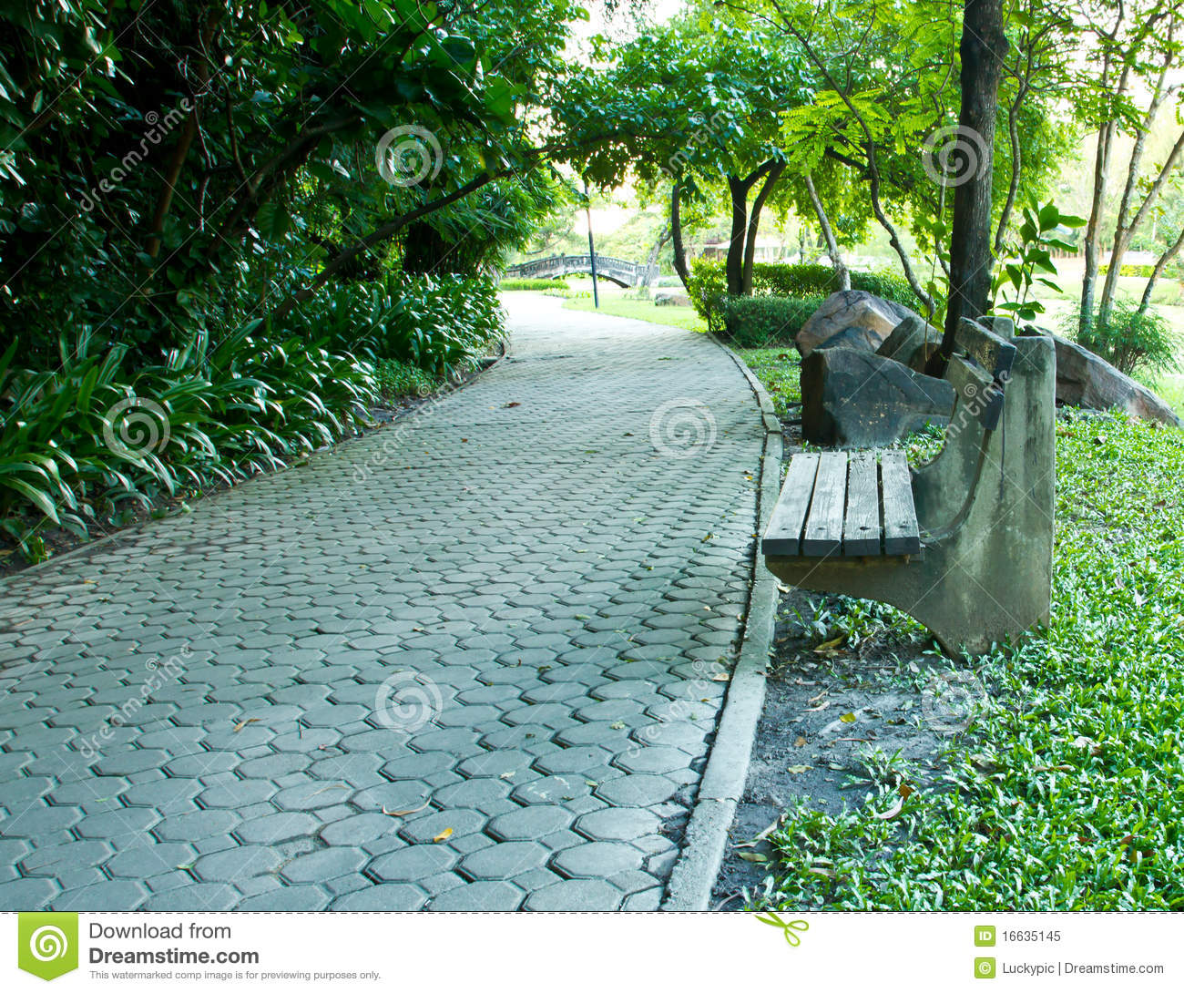 Bench And Walkway In A Public Park Stock Image Image Of