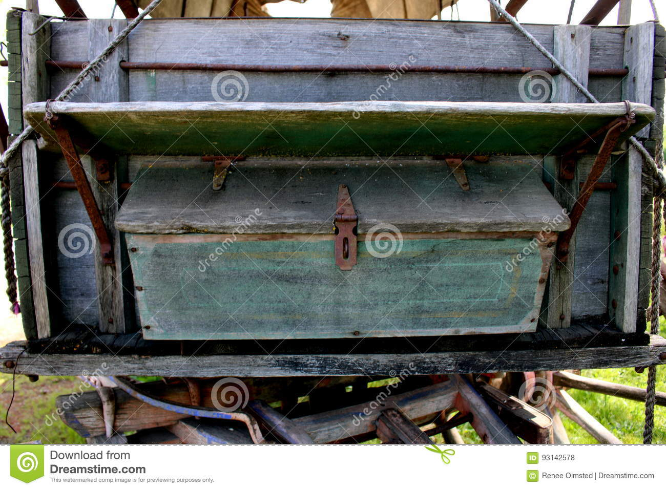 Bench And Wooden Storage Box On Covered Wagon Stock Photo Image Of Wood Bench 93142578