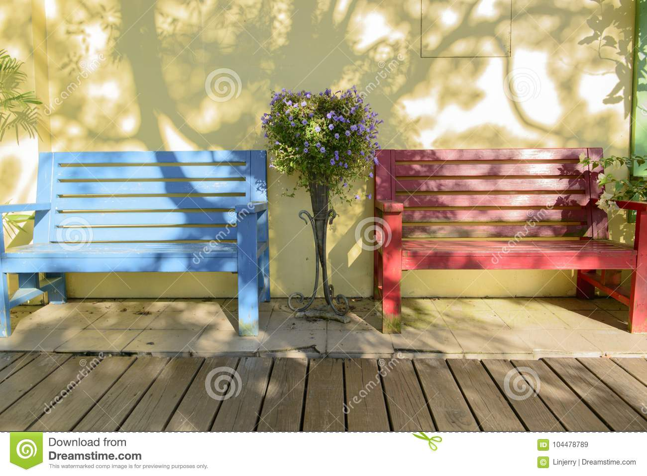 Miraculous Wooden Bench Against A White Wall Stock Image Image Of Onthecornerstone Fun Painted Chair Ideas Images Onthecornerstoneorg