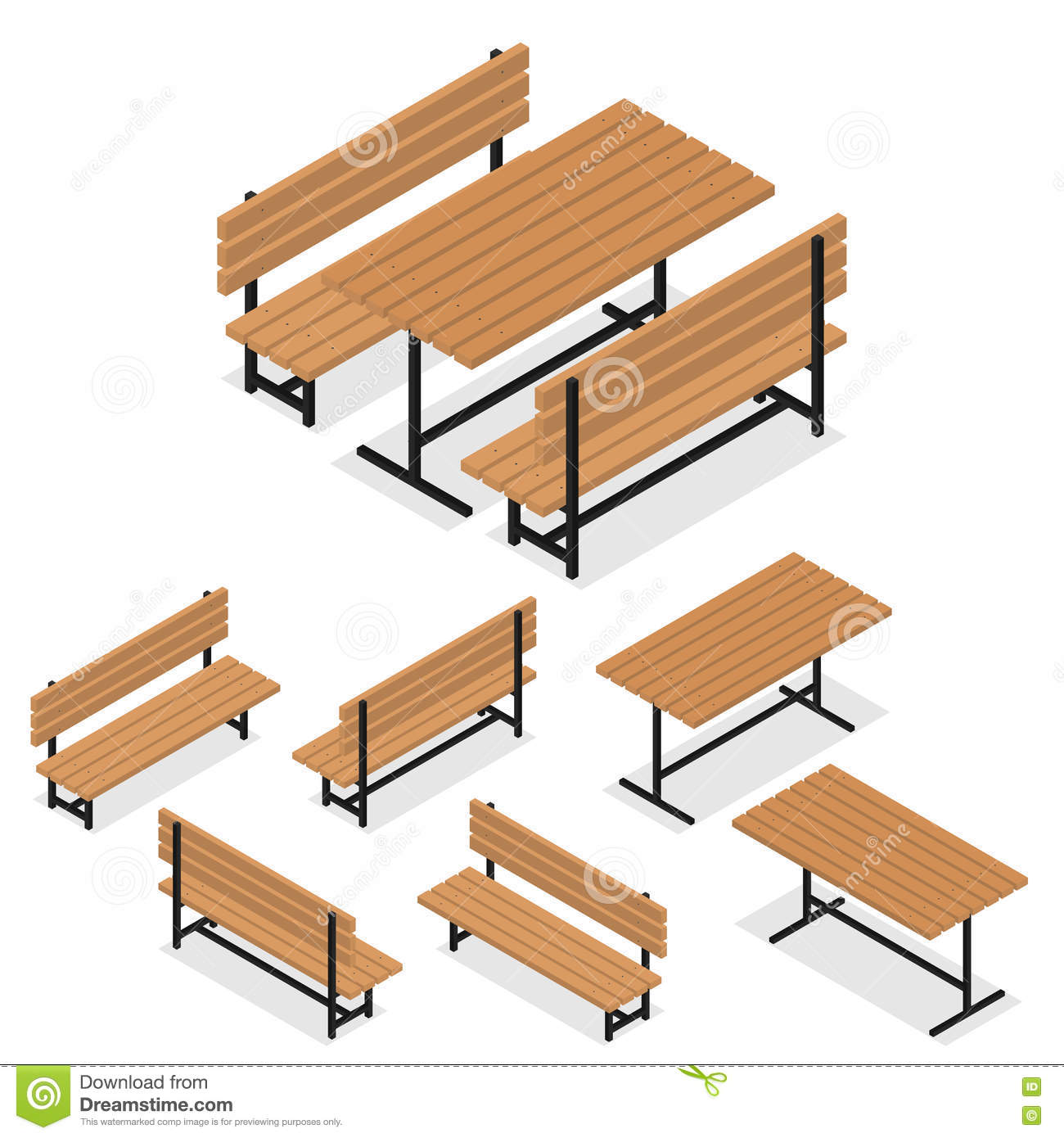 isometric park picnic relaxation rest table vector wooden plank wood ...