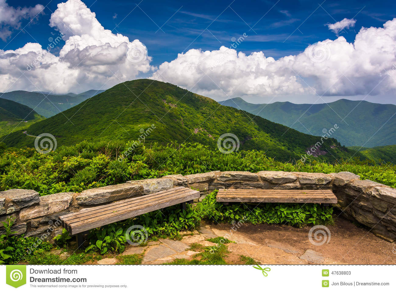Benches and view of the Appalachians from Craggy Pinnacle