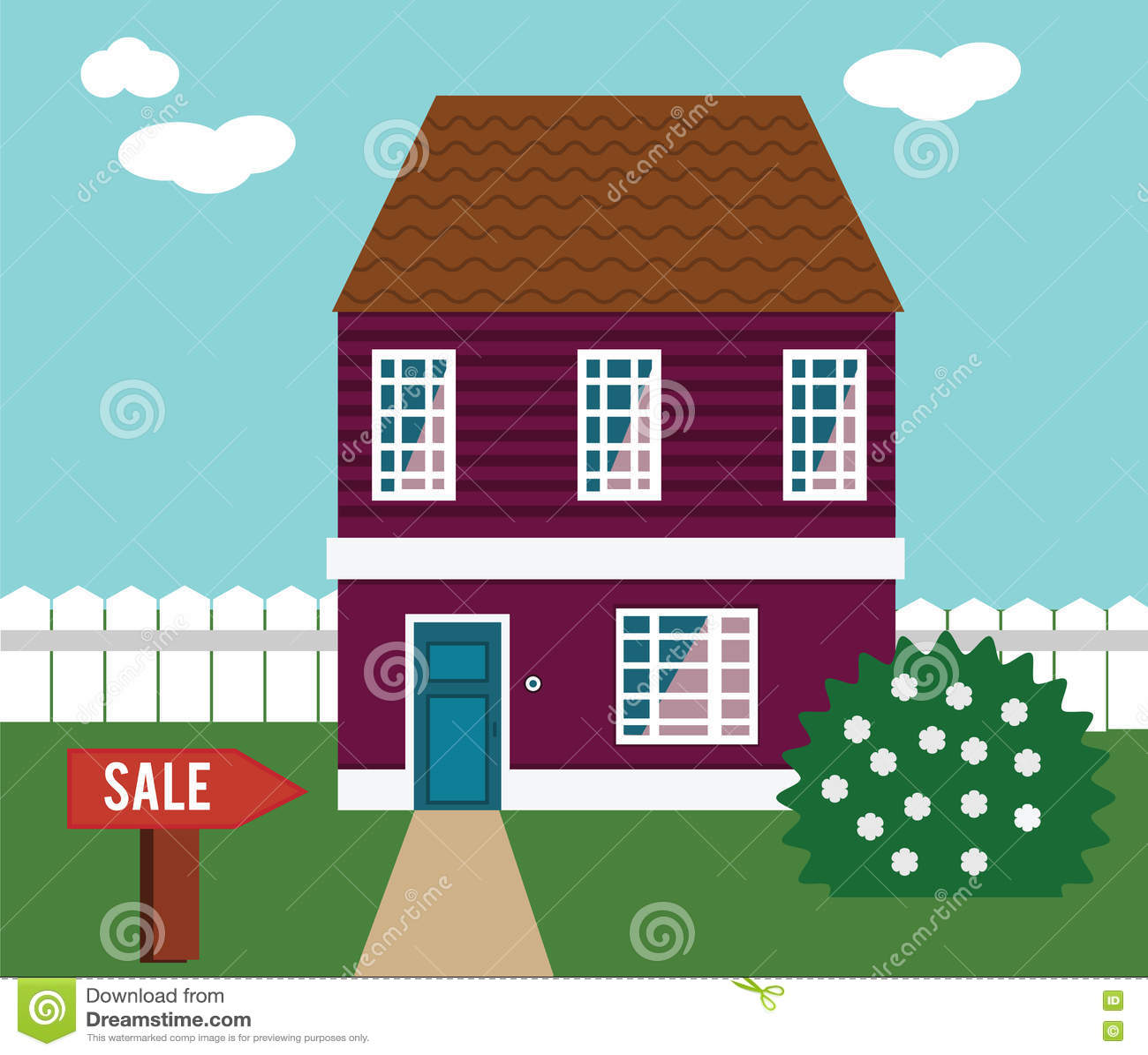 Bene immobile sulla vendita Camera, cottage, casa urbana, illustrazione di vettore del palazzo