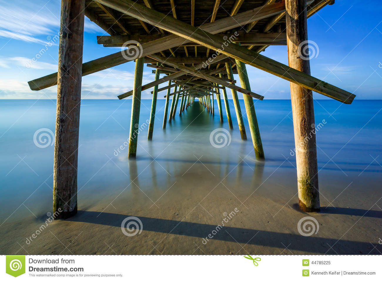 Beneath the fishing pier stock photo image 44785225 for Bogue inlet fishing pier emerald isle nc