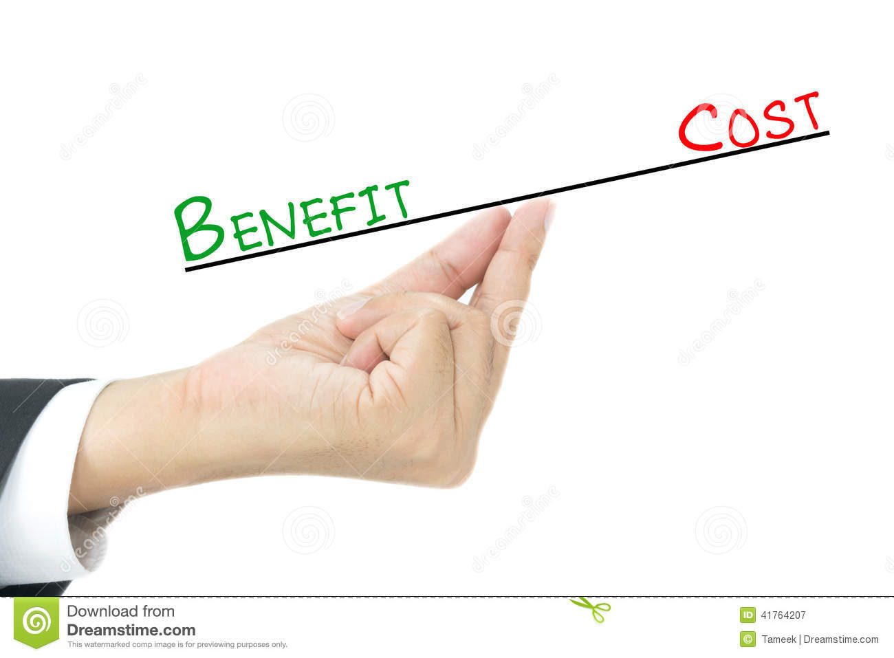Benefit Vs Cost Comparison Stock Photo  Image: 41764207