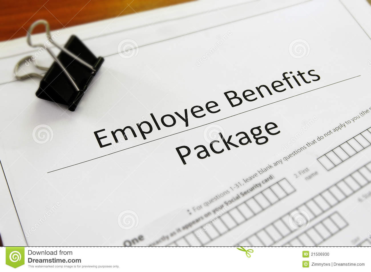 benefits package stock photo