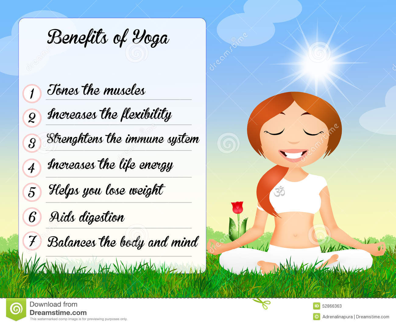 Benefits Of The Yoga Funny Illustration Royalty Free