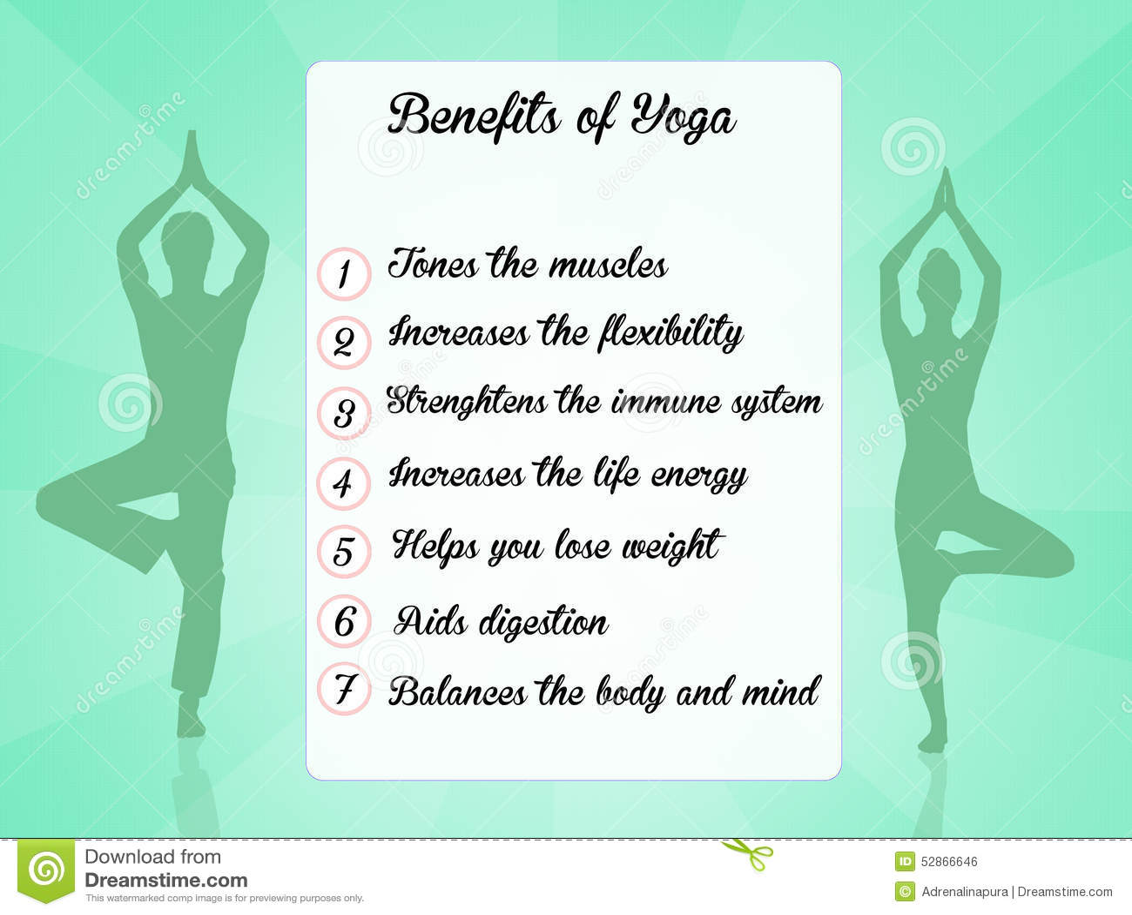 Benefits Of Yoga Funny Illustration Stock