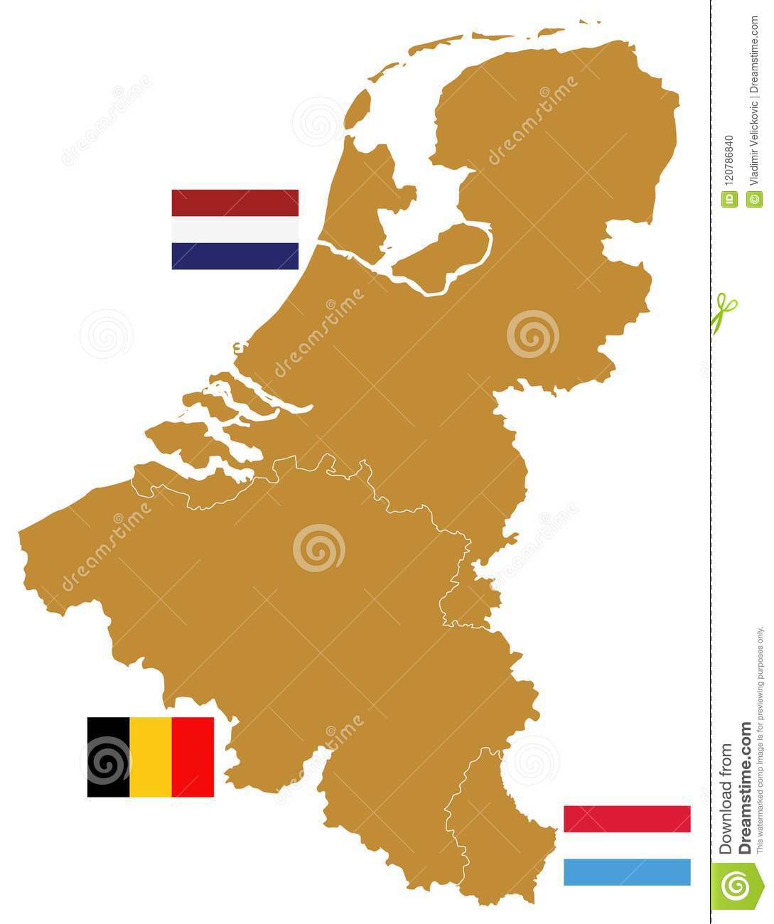 Benelux Map And Flags Three States In Western Europe Belgium The Netherlands And Luxembourg Stock Vector Illustration Of Travel Netherlands 120786840