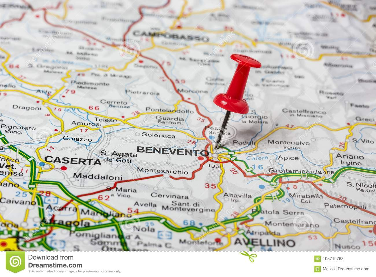 Benevento Pinned On A Map Of Italy Stock Image - Image of pinned ...
