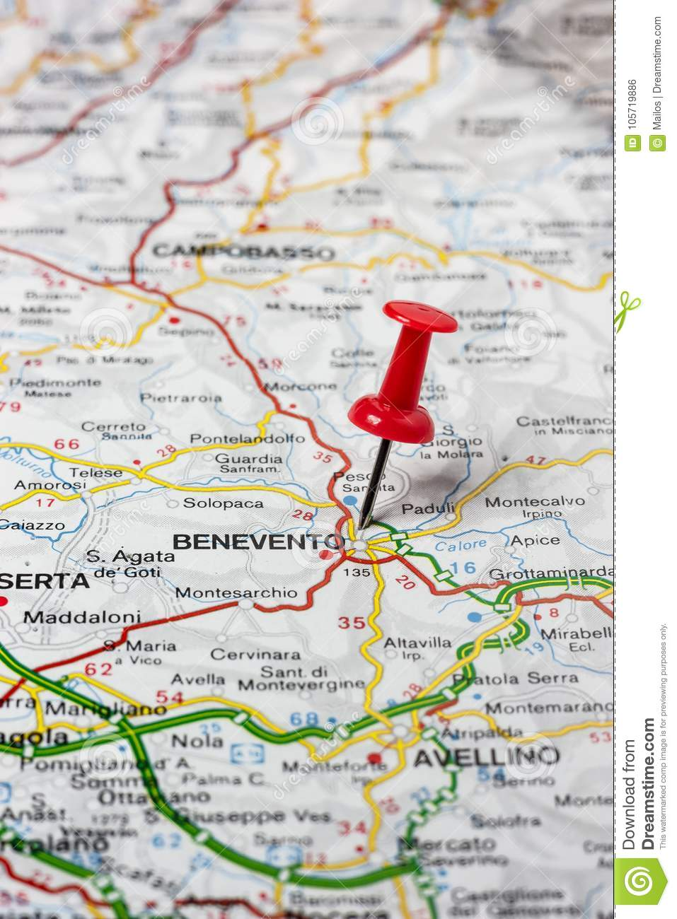Benevento Pinned On A Map Of Italy Stock Photo - Image of city ...