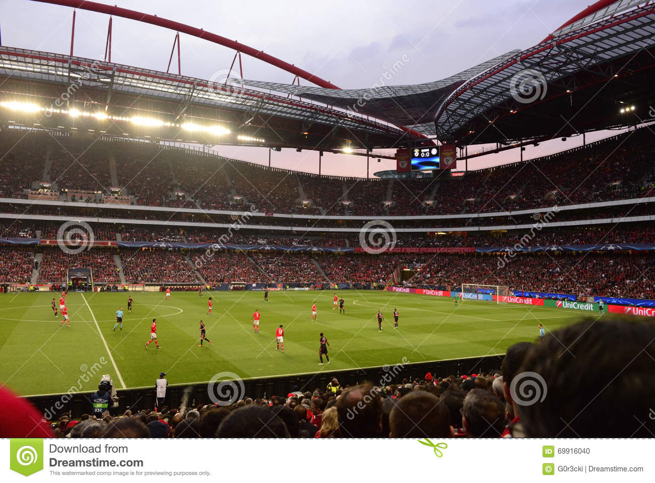 Football Stadium, Benfica Soccer Arena, Champions League Game, Real Fans Crowd