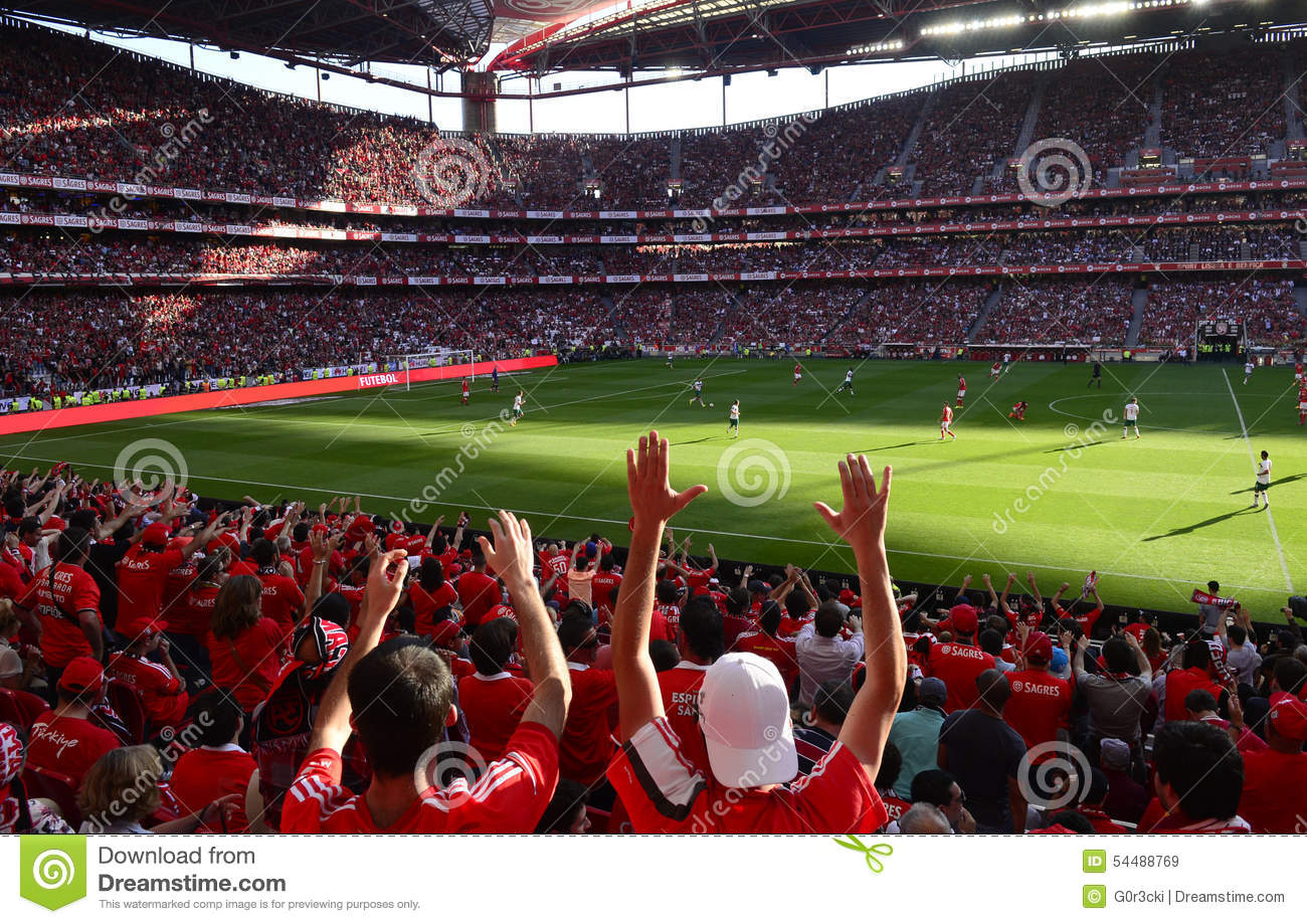 Soccer Fans, Red Crowd, Benfica Stadium, Football Players