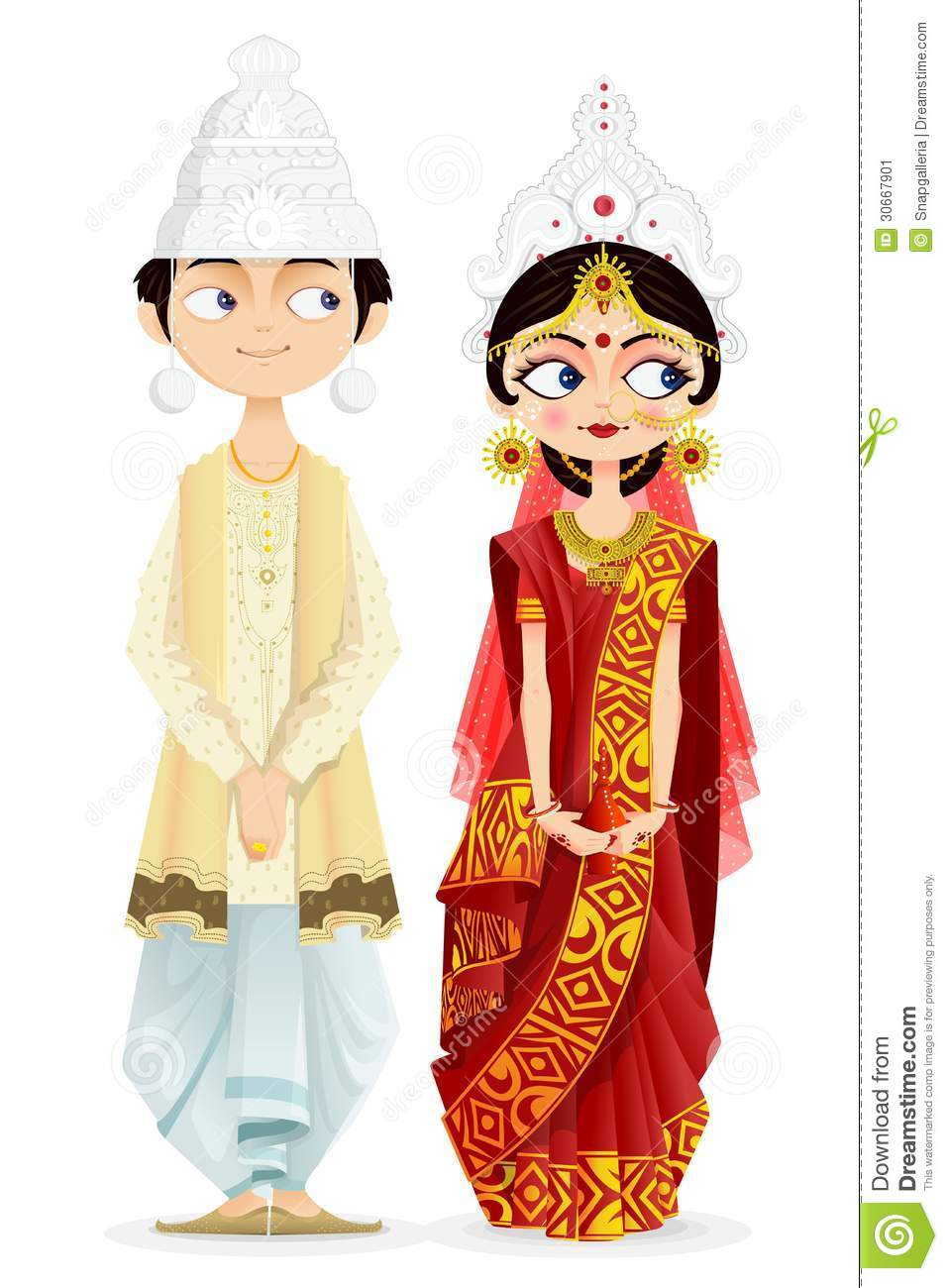bengali wedding couple easy to edit vector illustration 30667901 - Wedding Reception Rituals