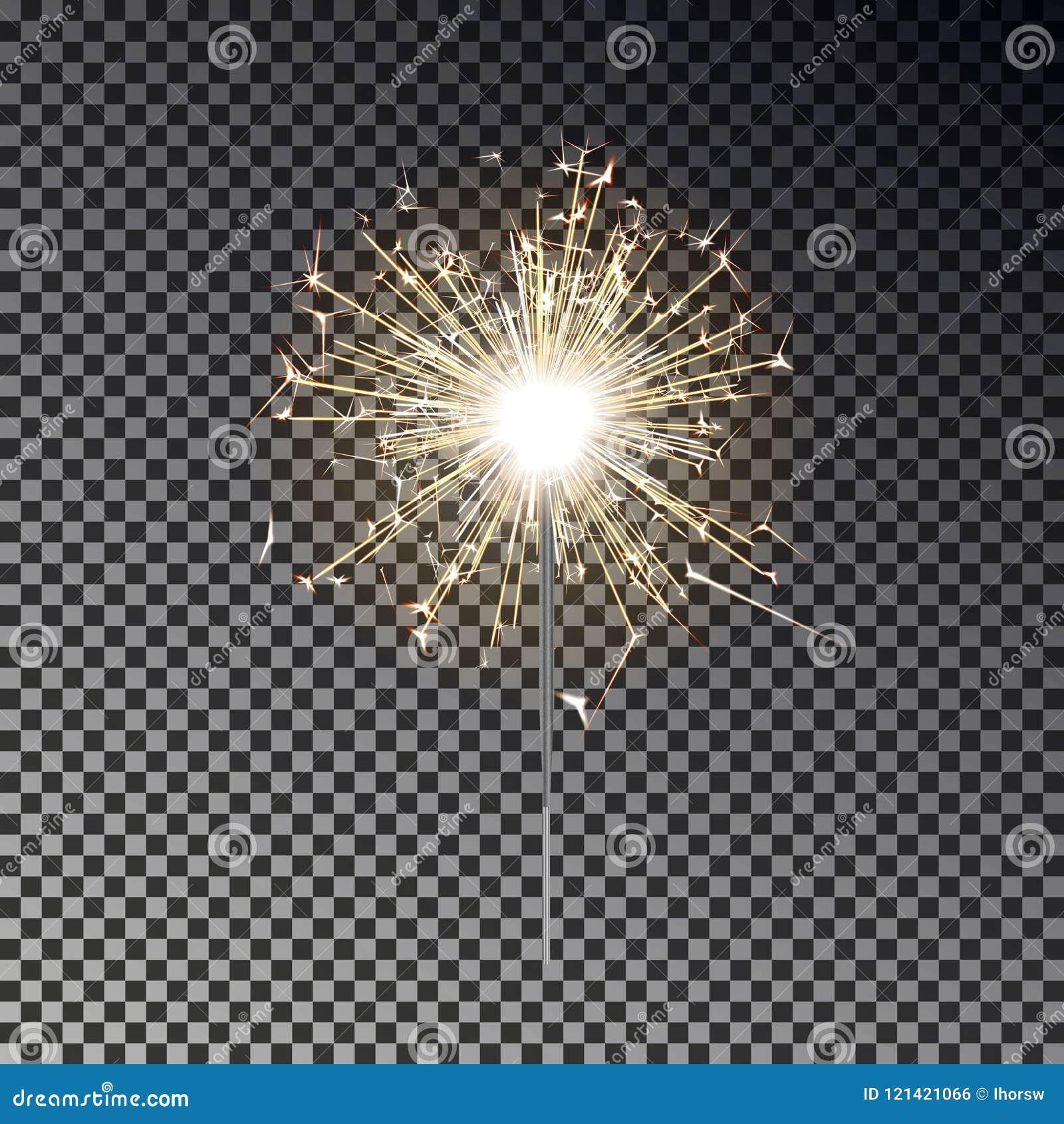 Bengalia ogień Nowego roku sparkler świeczka odizolowywająca na przejrzystym tle Realistyczny wektoru światła eff