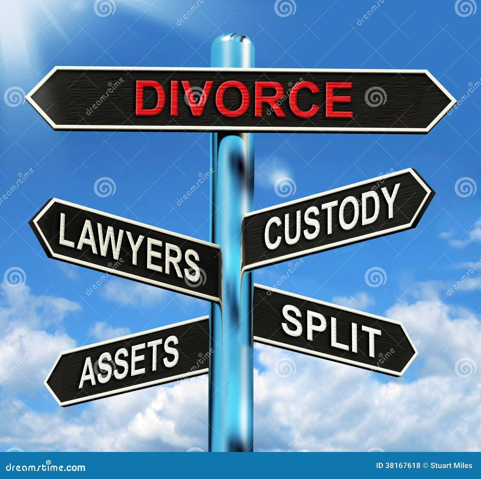 Beni ed avvocati spaccati di custodia di mezzi del cartello di divorzio