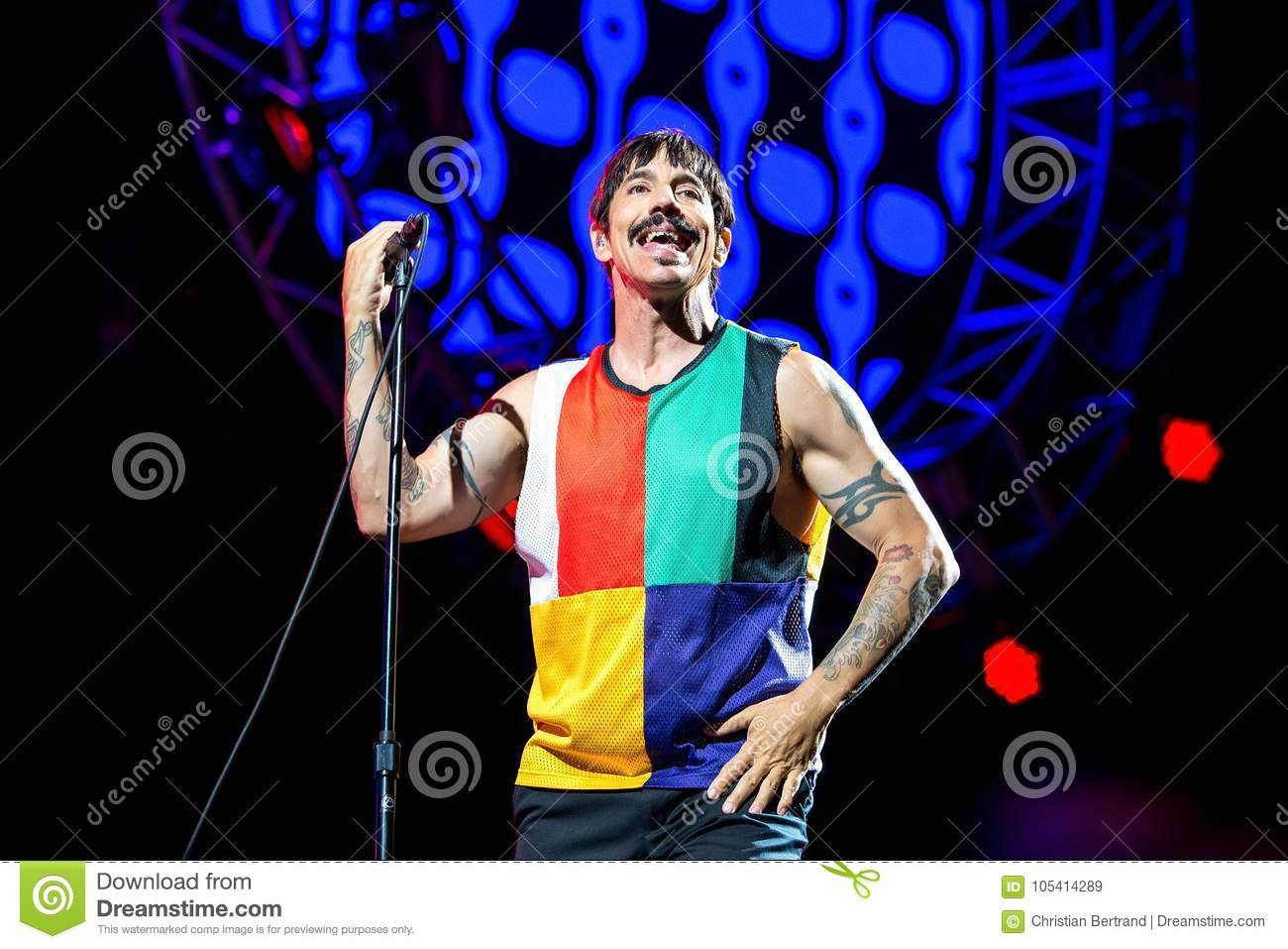Anthony Kiedis, frontman of Red Hot Chili Peppers music band, performs in concert at FIB Festival