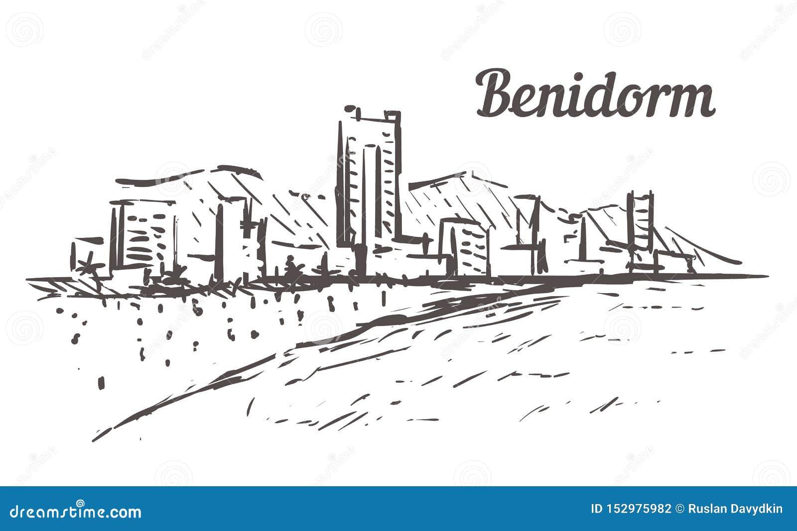 Benidorm linia horyzontu nakreślenie Benidorm, Hiszpania ręka rysująca ilustracja