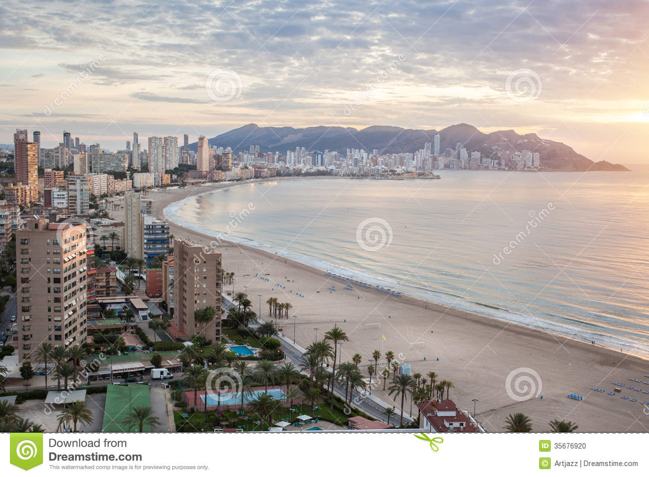 Benidorm - Costa Blanca Spain  city pictures gallery : Benidorm on sunrise, Costa Blanca, Spain.