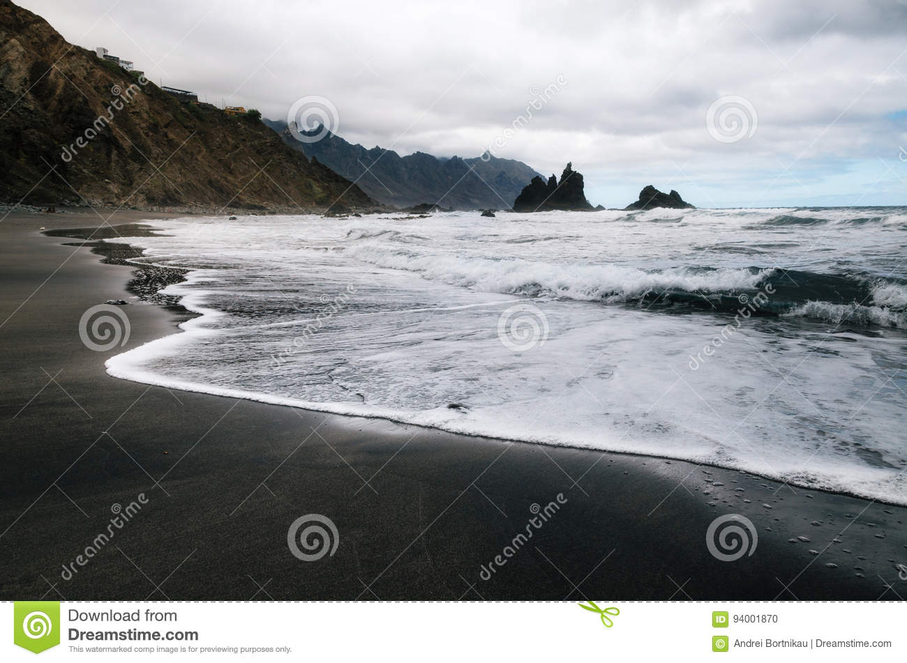 Benijo beach with big waves and black sand on the north coast of the island Tenerife, Spain