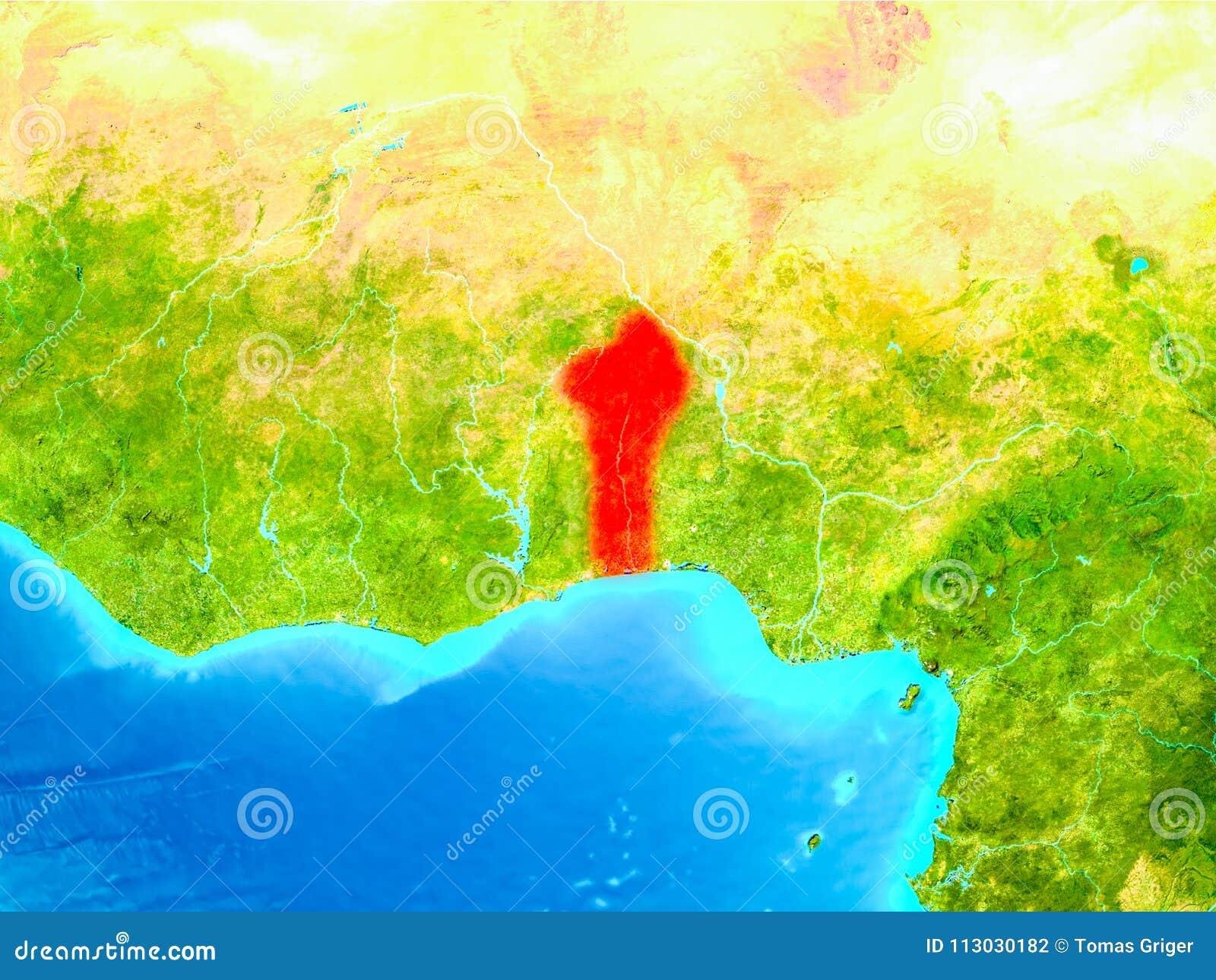 Benin en rojo en la tierra