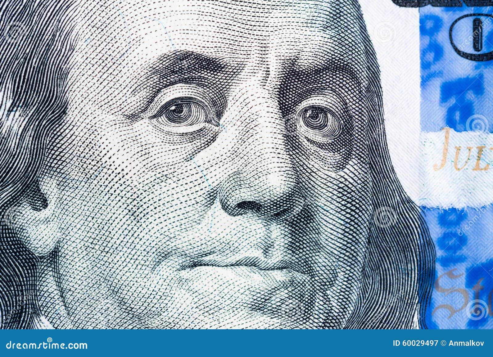 Benjamin Franklin Face Macro On United States Dollar Bill