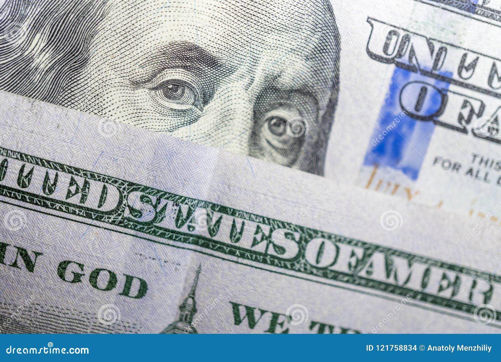Benjamin Franklin-gezicht op ons de macro van de honderd dollarrekening