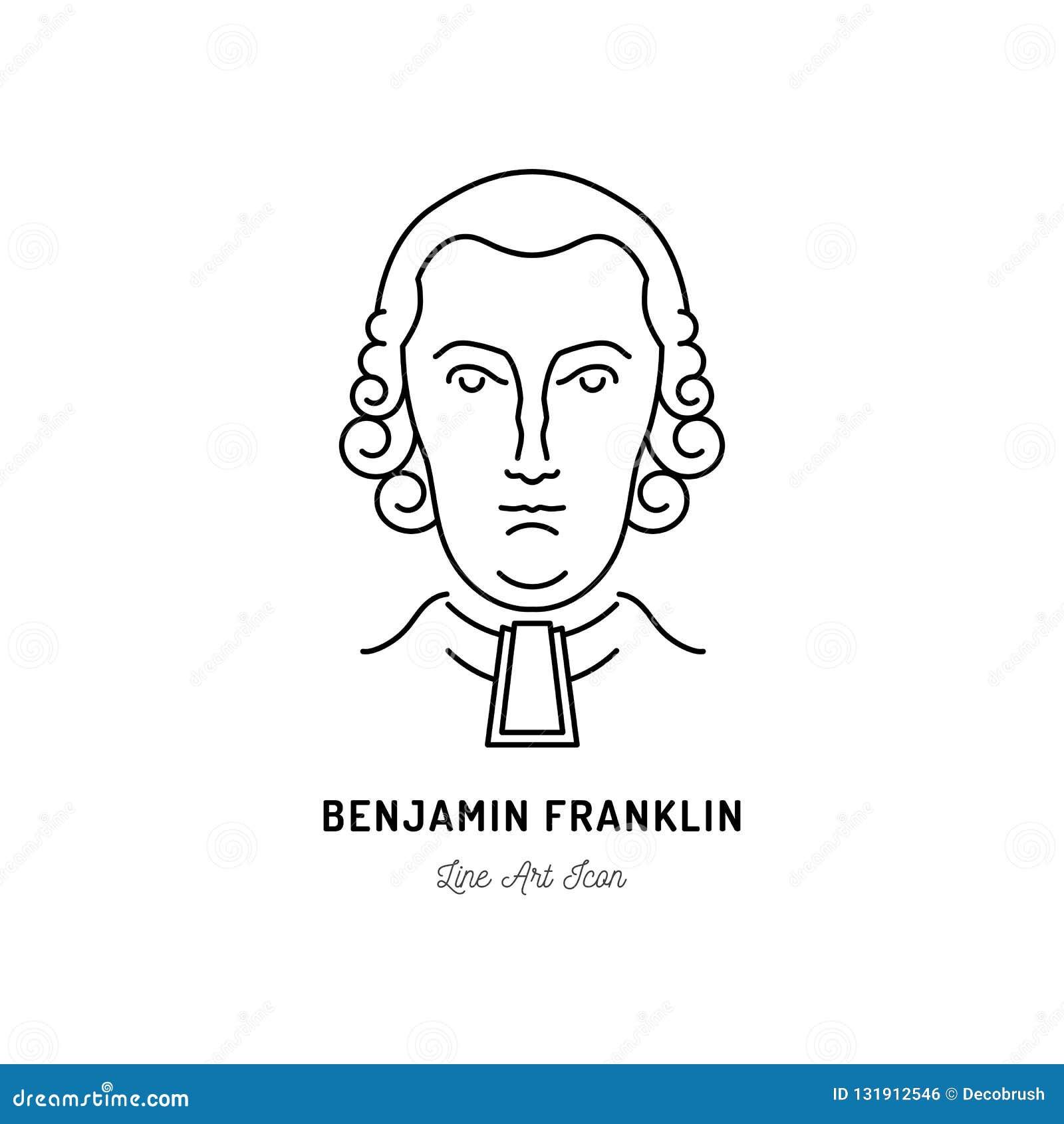Benjamin Franklin Icon USA politician. Line art icon, Vector illustration