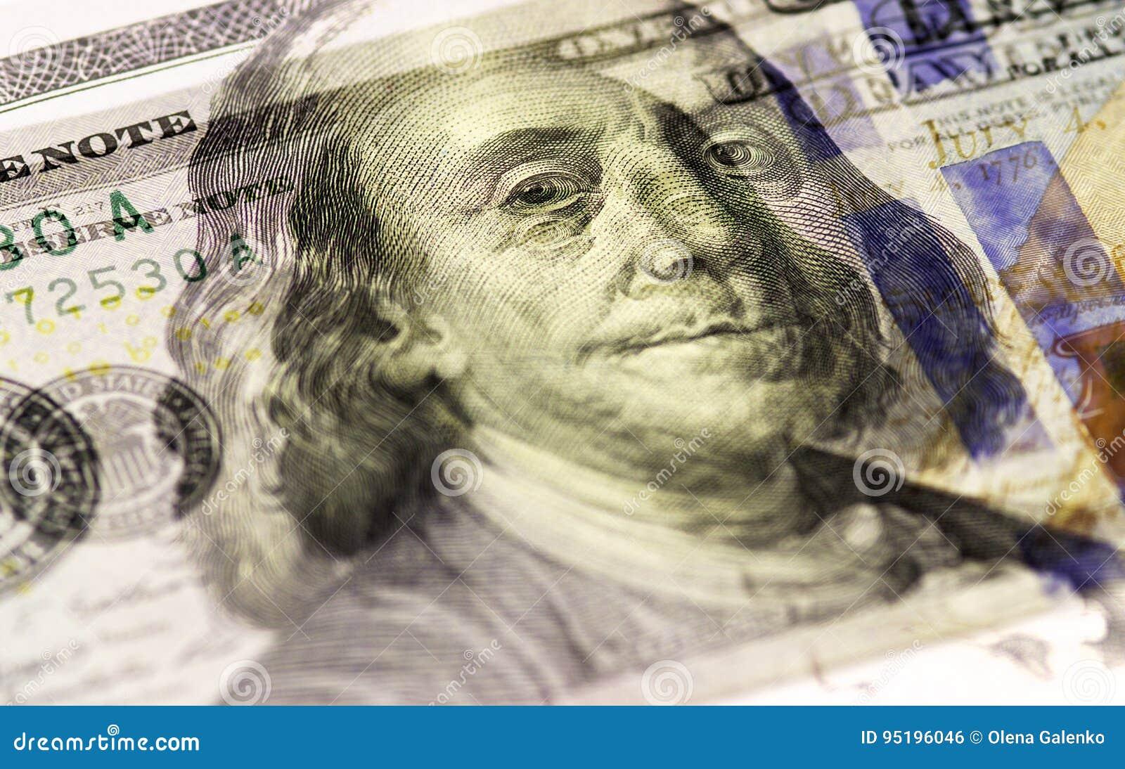 Benjamin Franklin stawia czoło na USA sto lub 100 rachunku makro- dolarach, zlany stanu pieniądze zbliżenie