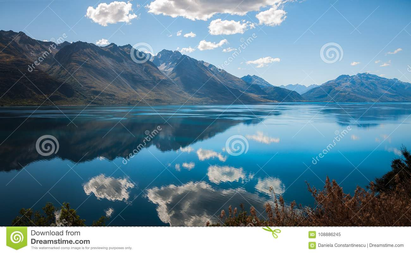 The blue waters of lake Wakatipu, New Zealand