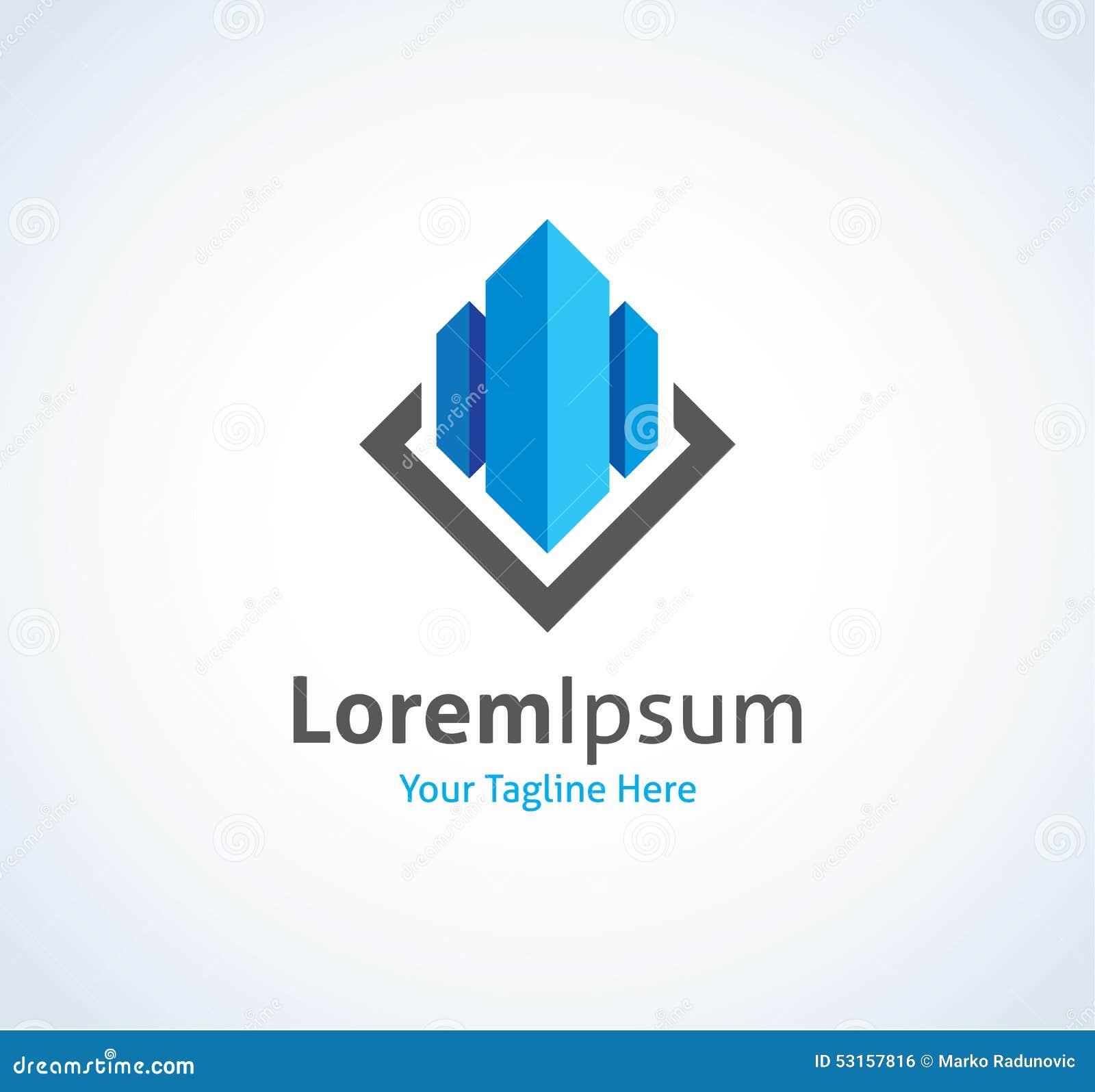 Bens imobiliários que constroem a empresa de negócio do CEO no ícone de vidro do logotipo