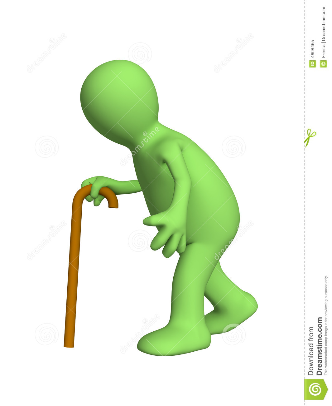 Bent 3d person - puppet, going with a cane