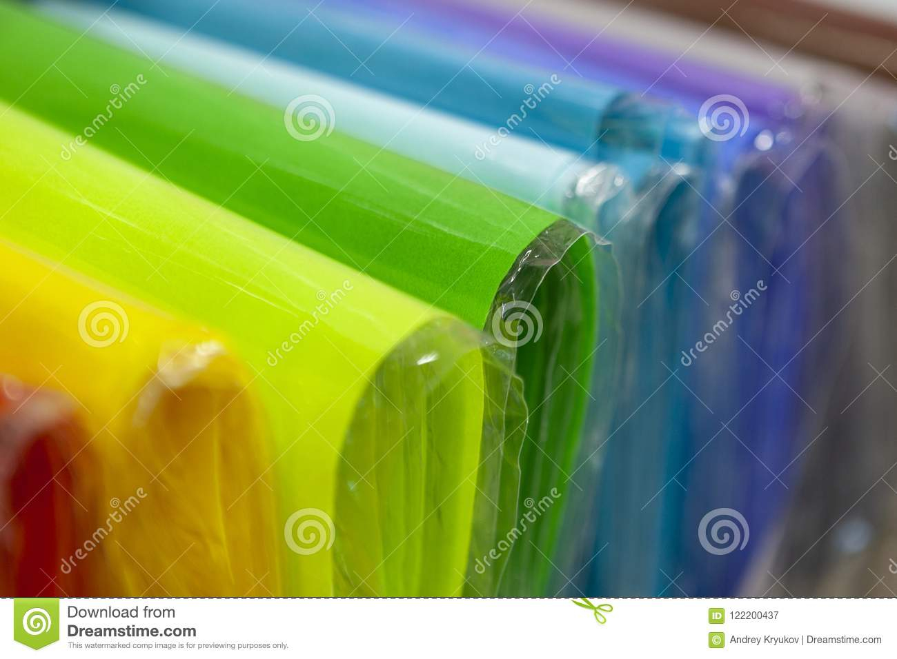 Bent Sheets Of Colored Cardboard In Package Close Up. Stock Image ...