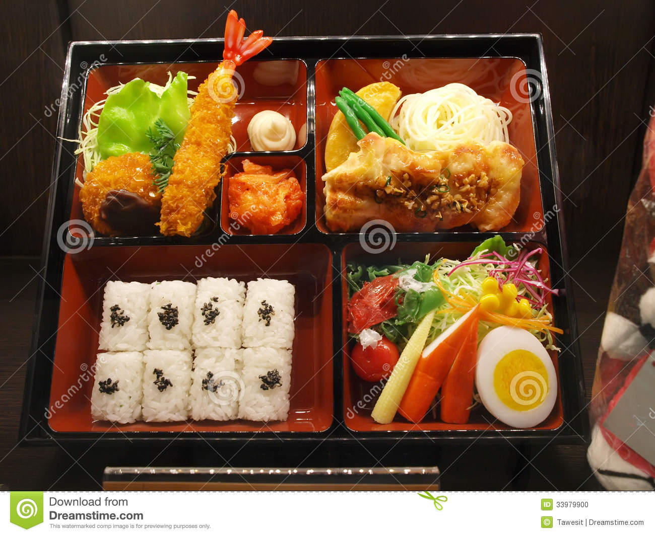 bento japanese food set in box stock photo image 33979900. Black Bedroom Furniture Sets. Home Design Ideas