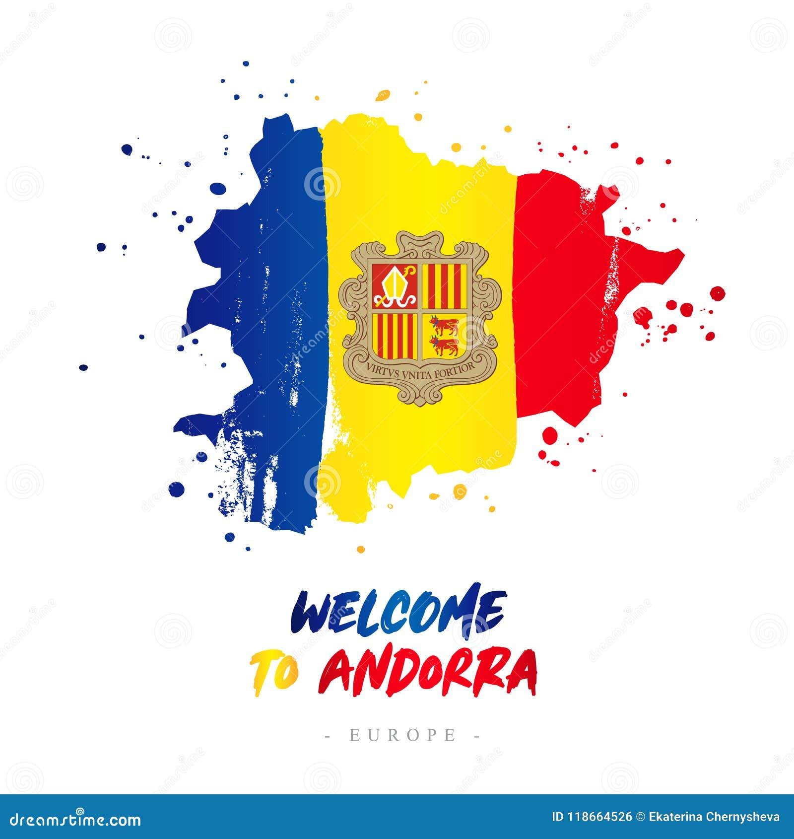 Benvenuto in Andorra Bandiera e mappa del paese