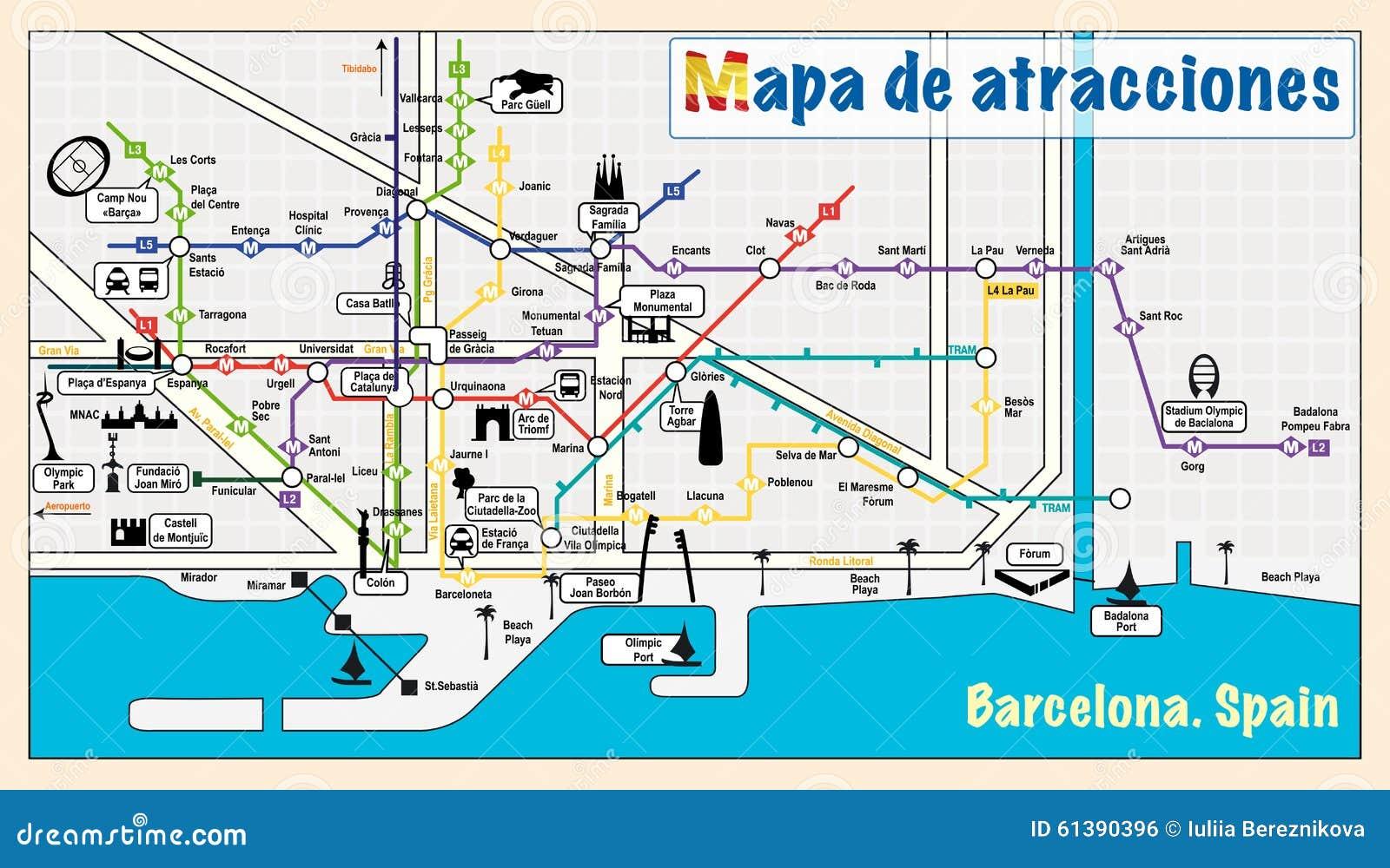 Cartina Metro Barcellona.Benvenuto A Barcellona Attrazioni Sulla Mappa Illustrazione Vettoriale Illustrazione Di Architettura Spagnolo 61390396