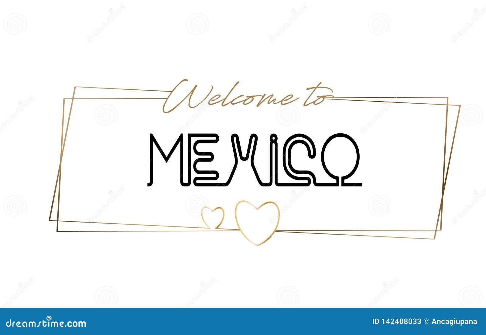 Benvenuto del Messico per mandare un sms alla tipografia d iscrizione al neon Parola per il logotype, distintivo, icona, cartolin