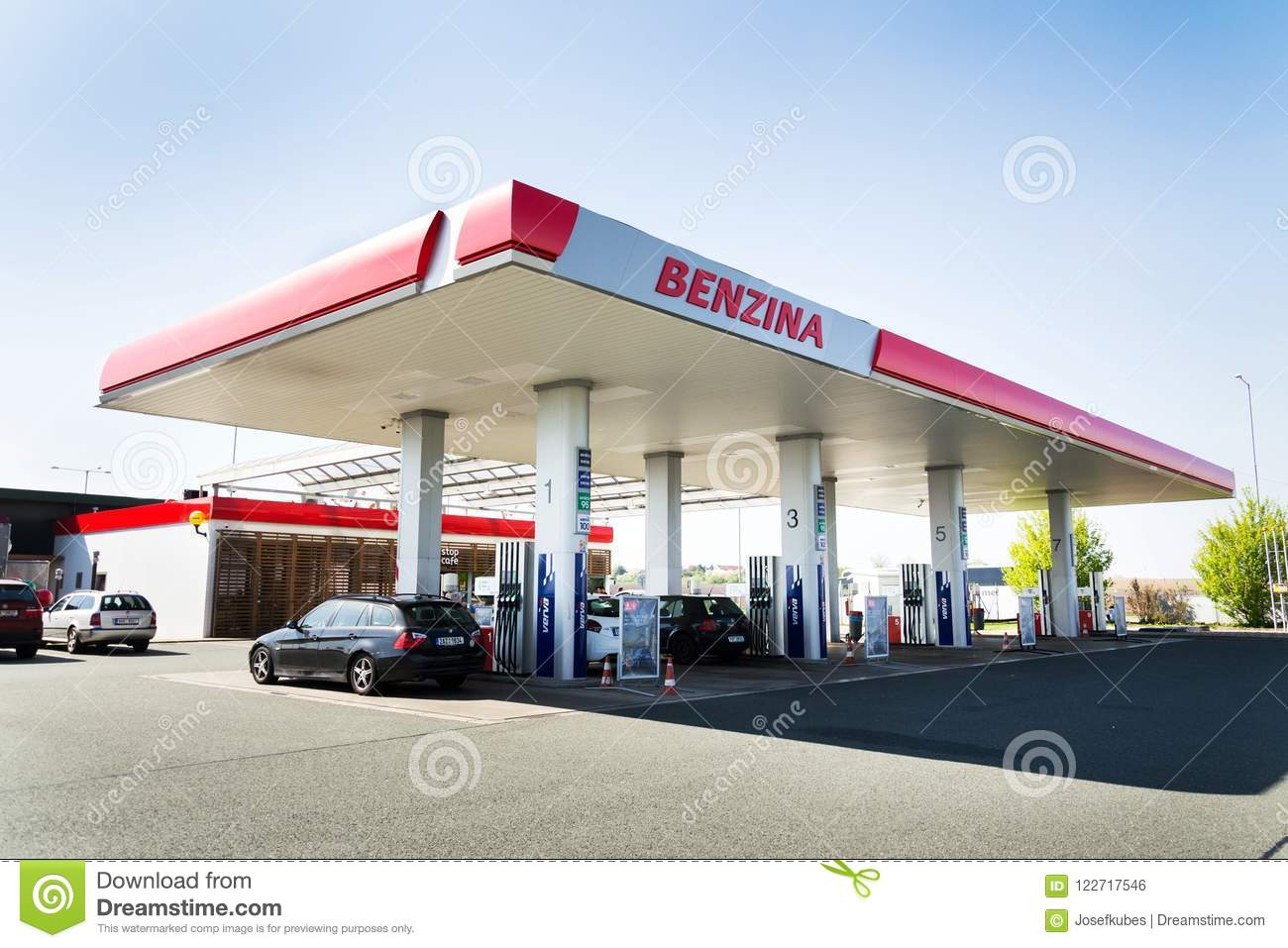 Benzina Oil And Gas Company Logo On Petrol Station Editorial