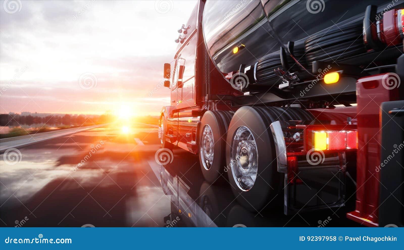 Benzintanker, Ölanhänger, LKW auf Landstraße Sehr schnelles Fahren Wiedergabe 3d