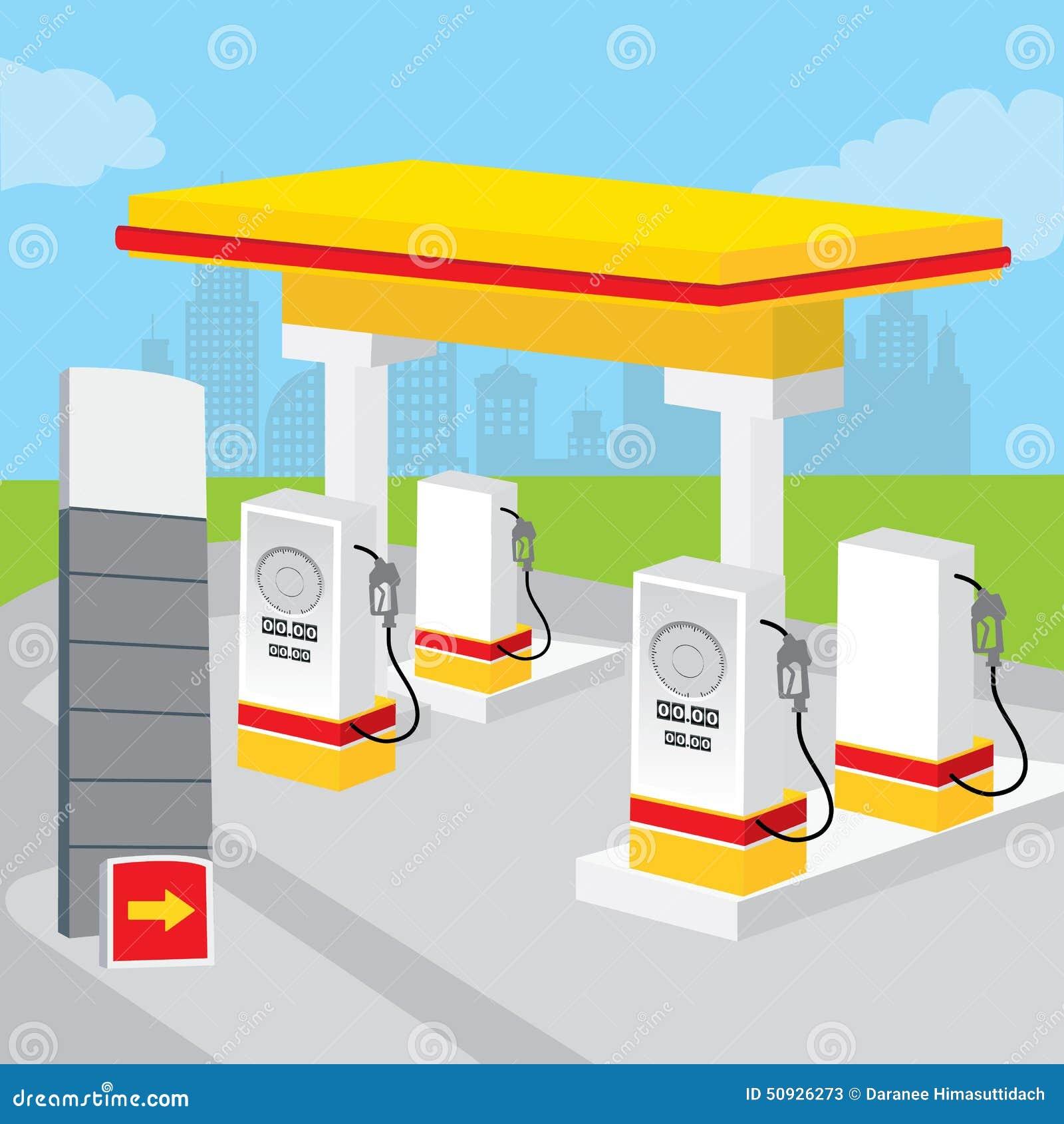 Benzyny Benzynowej staci tło Dekoruje projekt kreskówki wektor