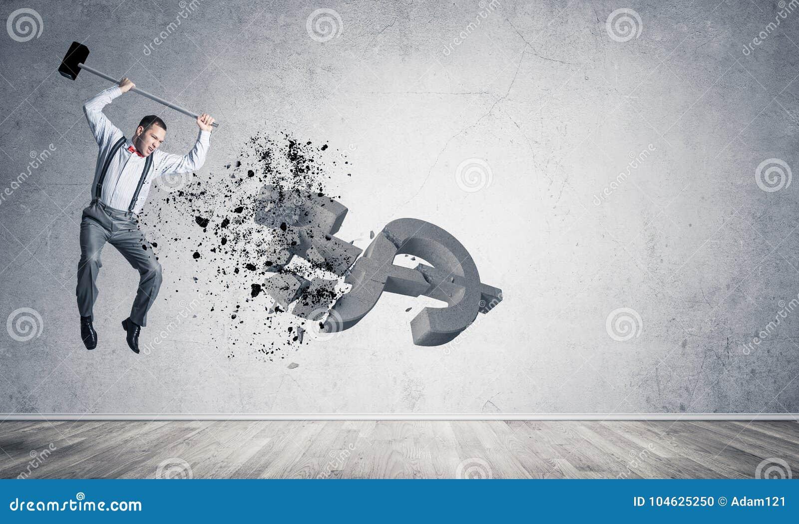 Download Bepaalde Bankiersmens In Leeg Concreet Fig. Van De Ruimte Brekend Dollar Stock Foto - Afbeelding bestaande uit hamer, mislukking: 104625250