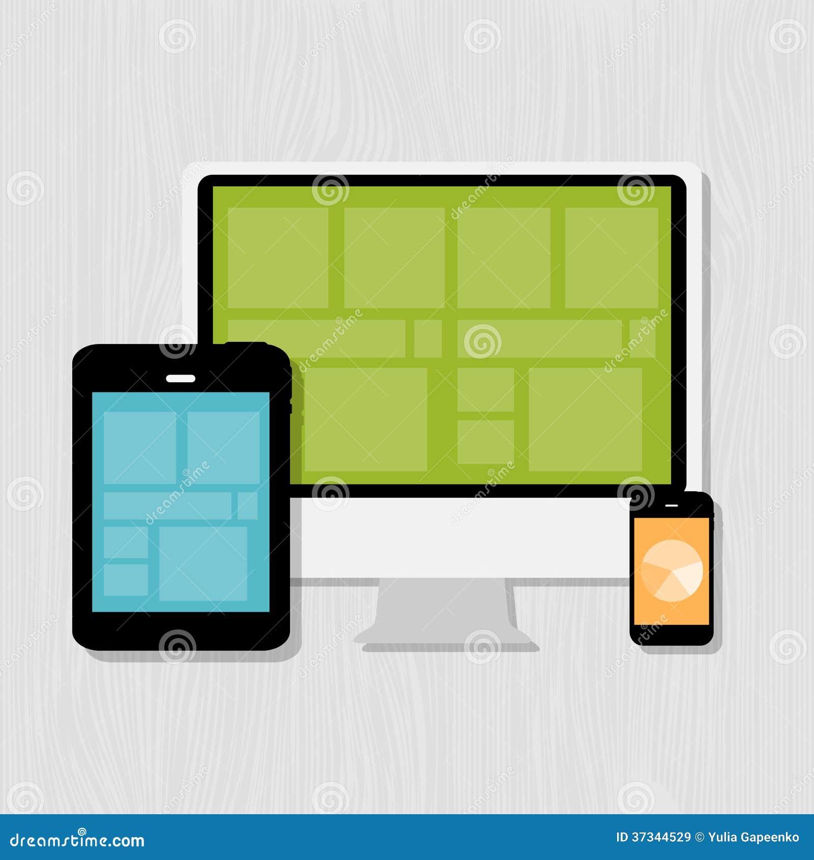 Beräknande begrepp på olika elektroniska apparater.