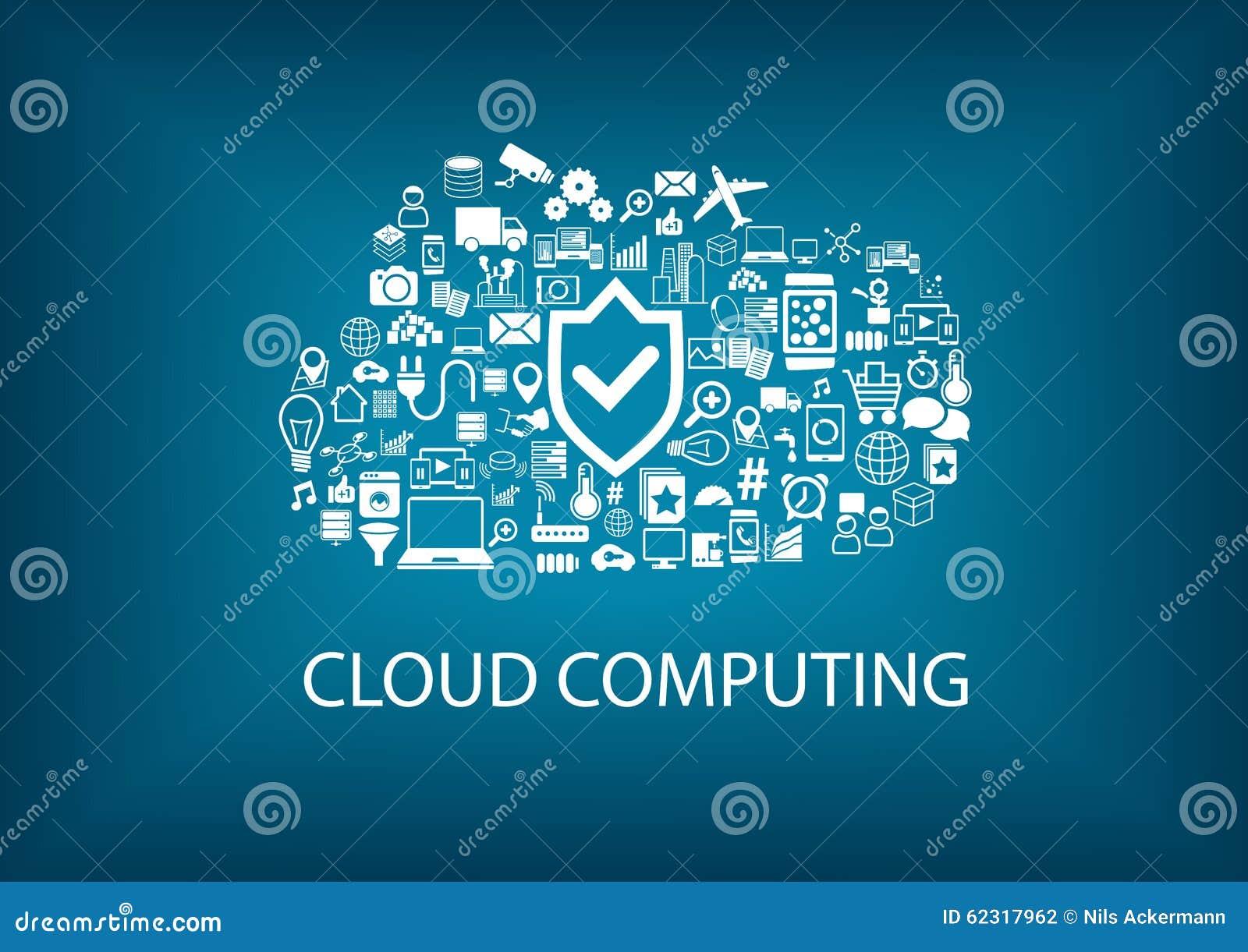 Beräknande säkerhet för oklarhet Säkerhet i molnbegreppet med symboler på suddig bakgrund