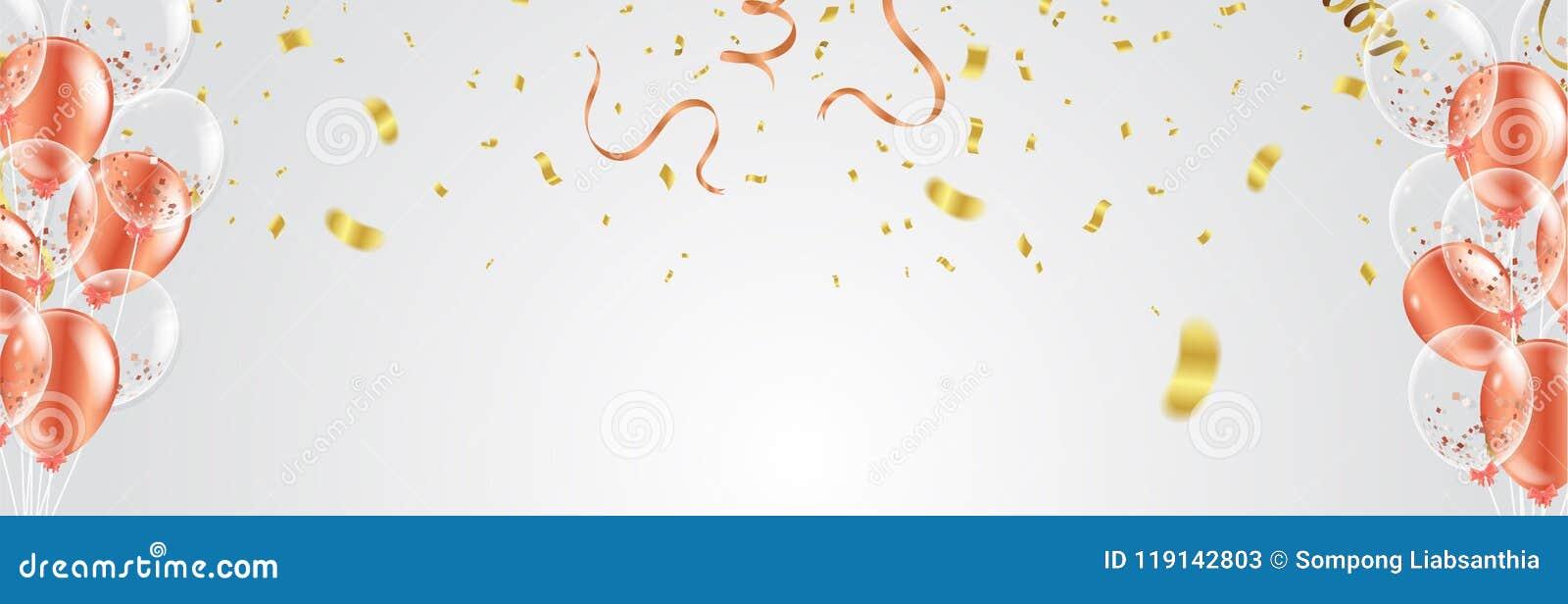 Berömbaner med den röda guld- konfetti- och ballongvektorn il