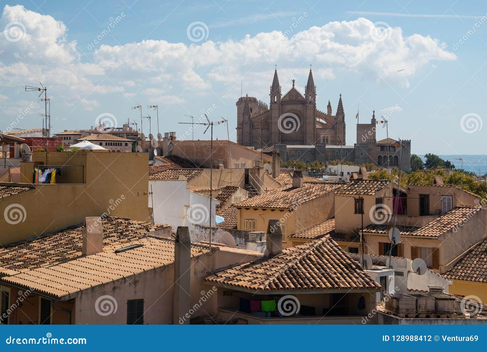 Berömd gotisk domkyrkaLa Seu, Palma de Mallorca, Spanien