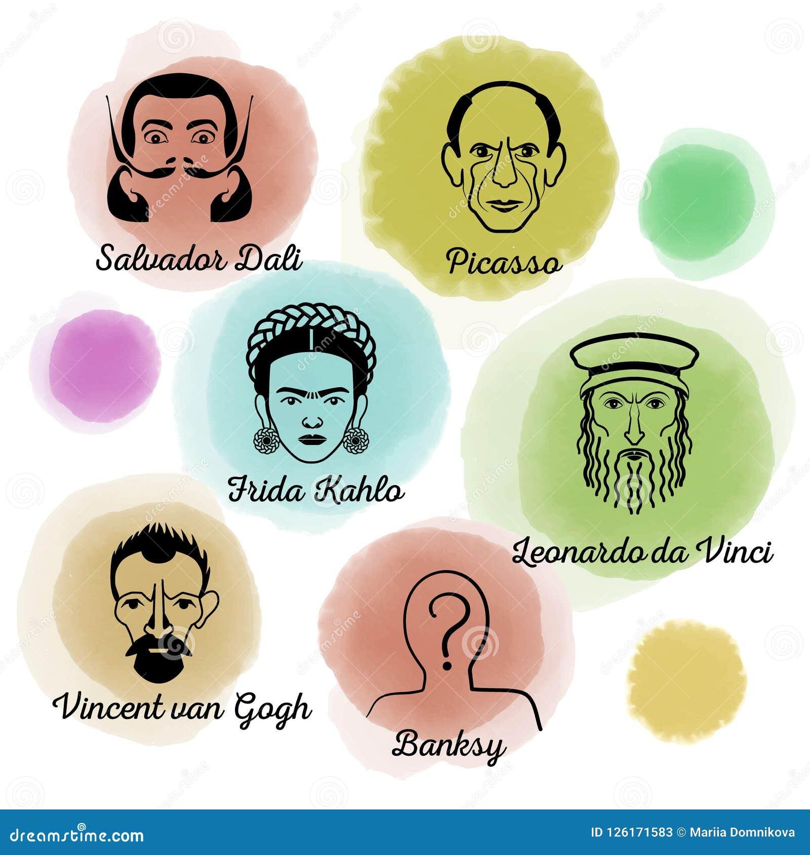 Berömd konstnär Icon Set