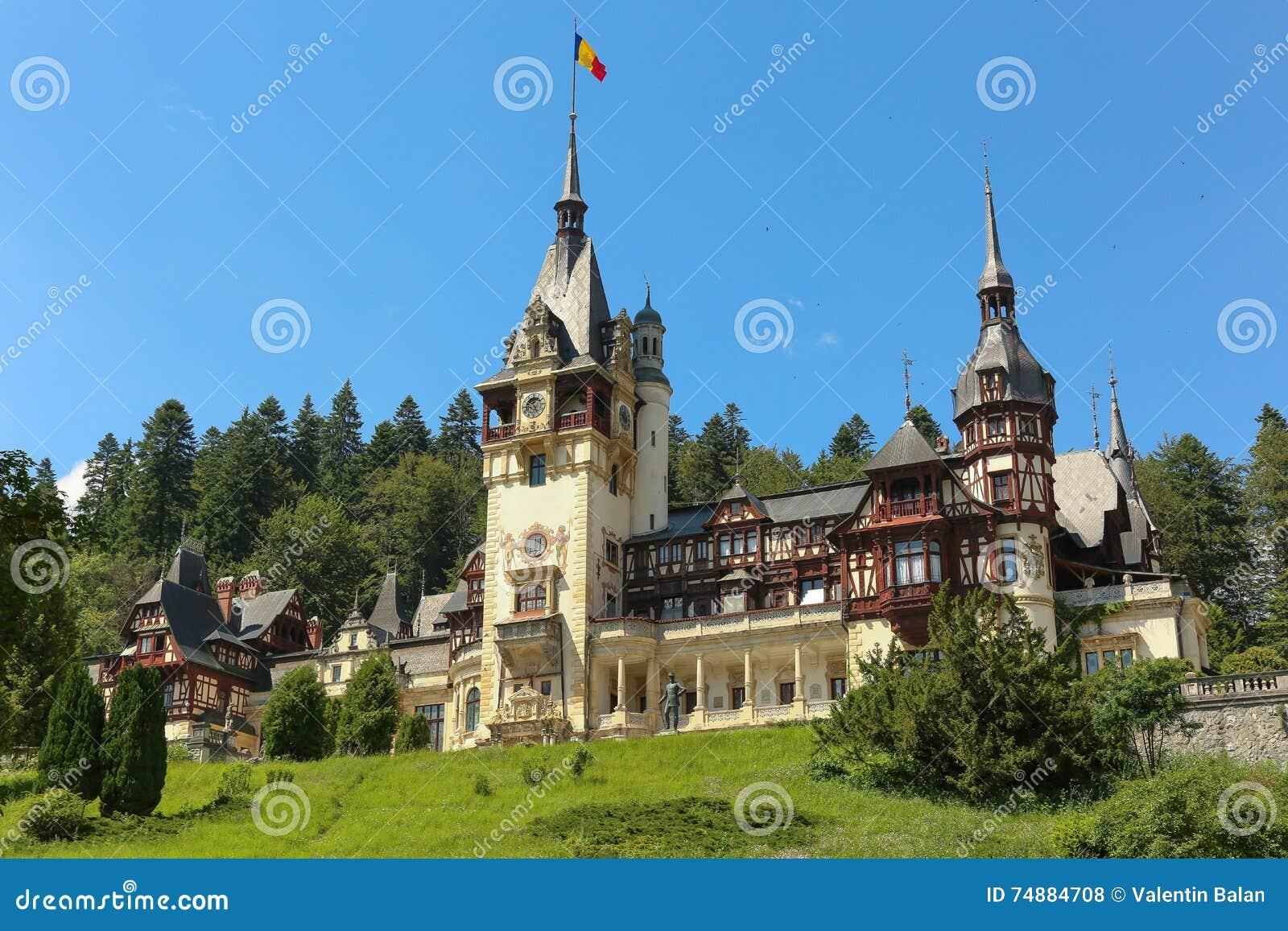 Berömd kunglig Peles slott, Sinaia, Rumänien