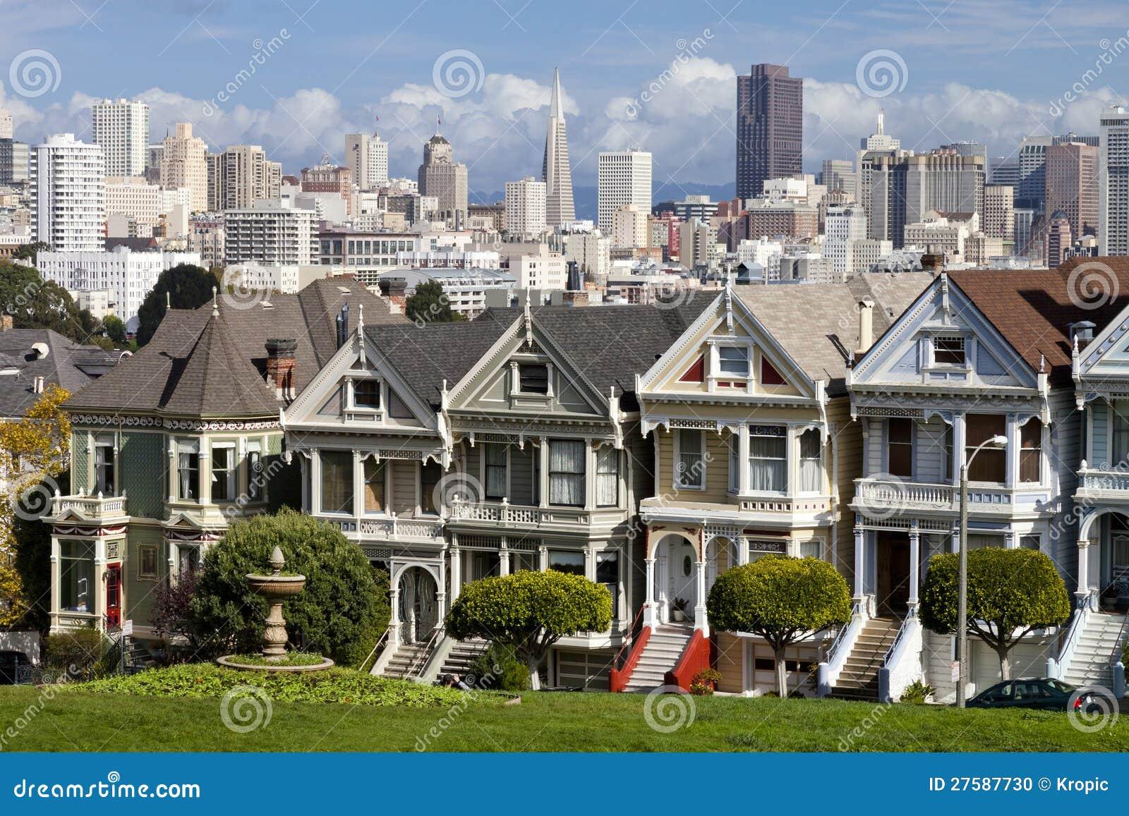 Berömda Victorianradhus i San Francisco