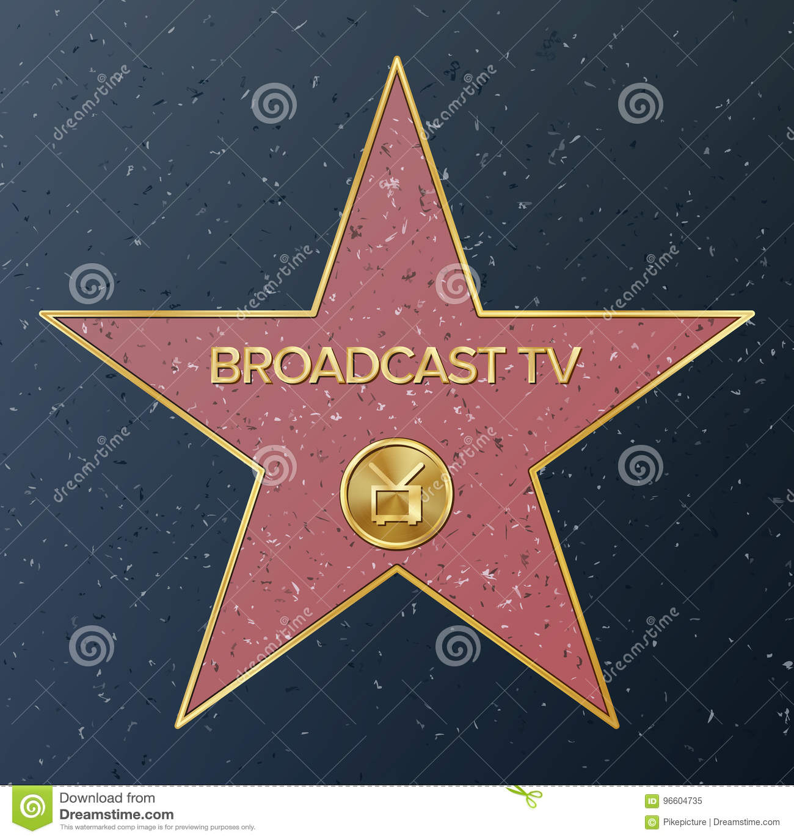 Berömmelse hollywood går Vektorstjärnaillustration Berömd trottoarboulevard Sänt föreställa för televisionmottagare